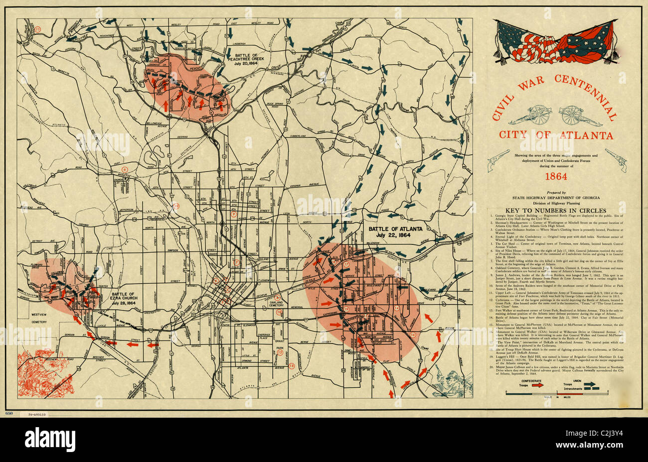 City of Atlanta, Civil War Deployments - Stock Image