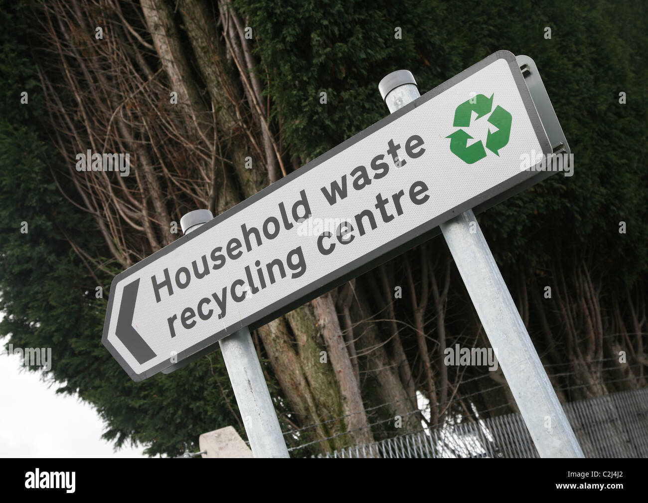 A sign showing a Household waste recycling centre - Stock Image