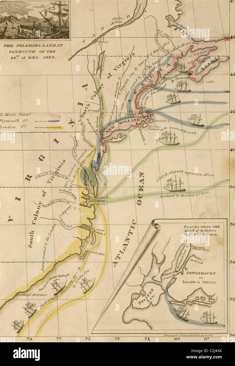 1620 - Pilgrims land at Plymouth Rock - Stock Image