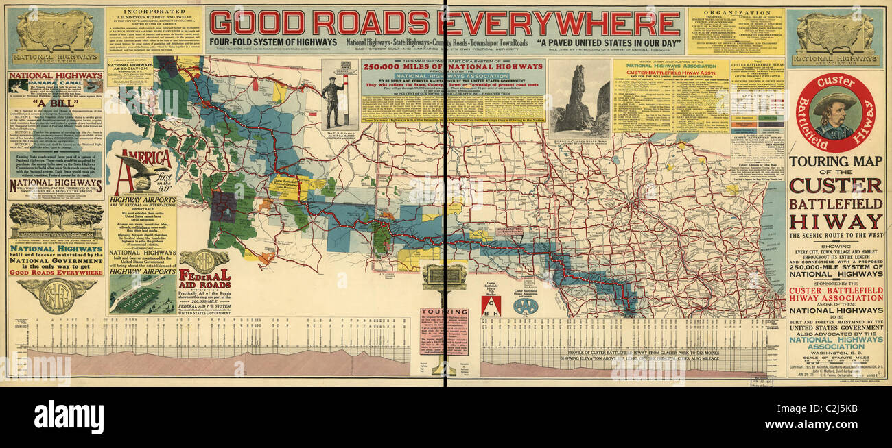 Good Roads Everywhere - A Touring Map of the Custer Battlefield Highway - 1925 - Stock Image