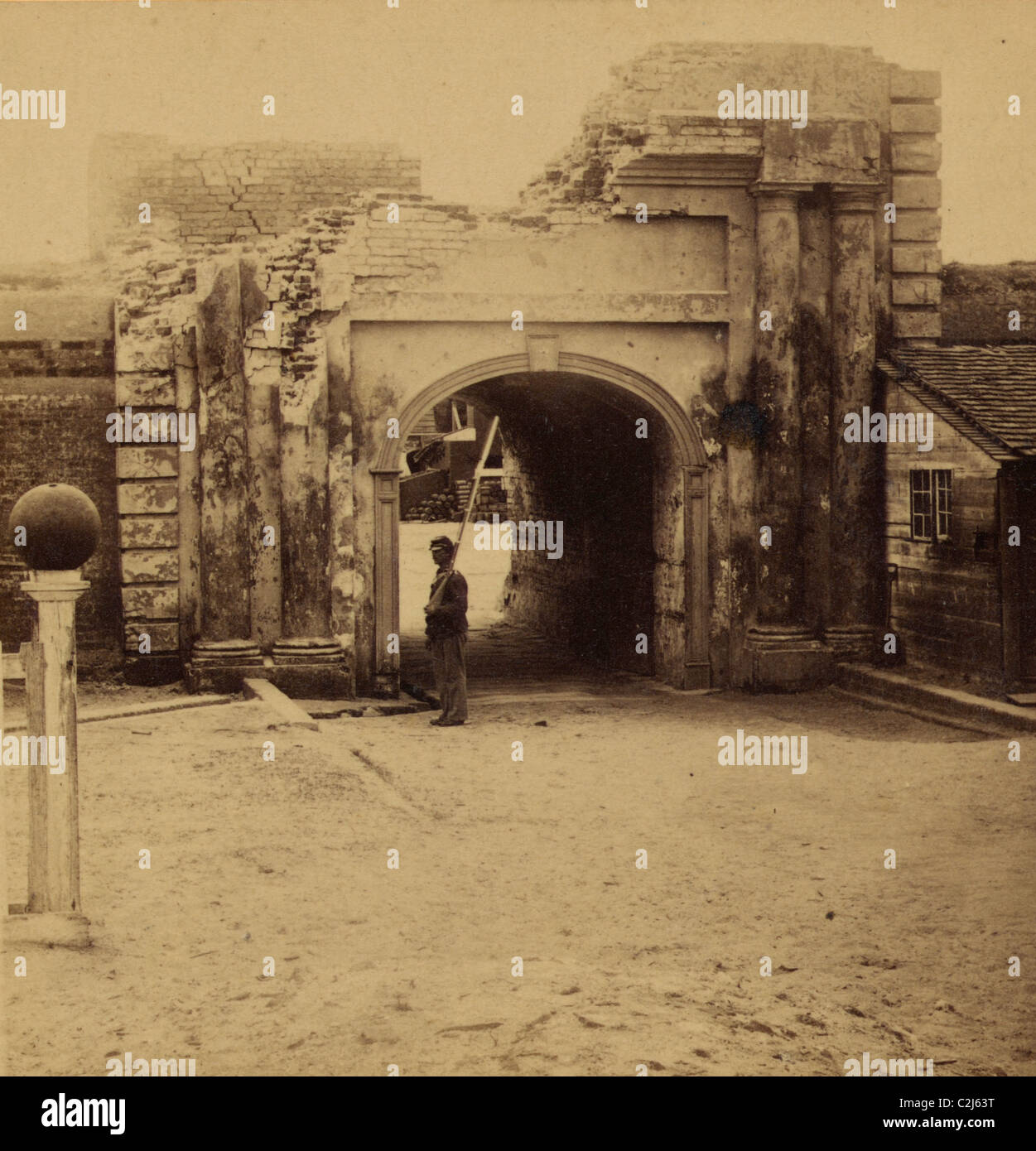 Exterior of sally port, Fort Moultrie, outside, March 1865 - Stock Image