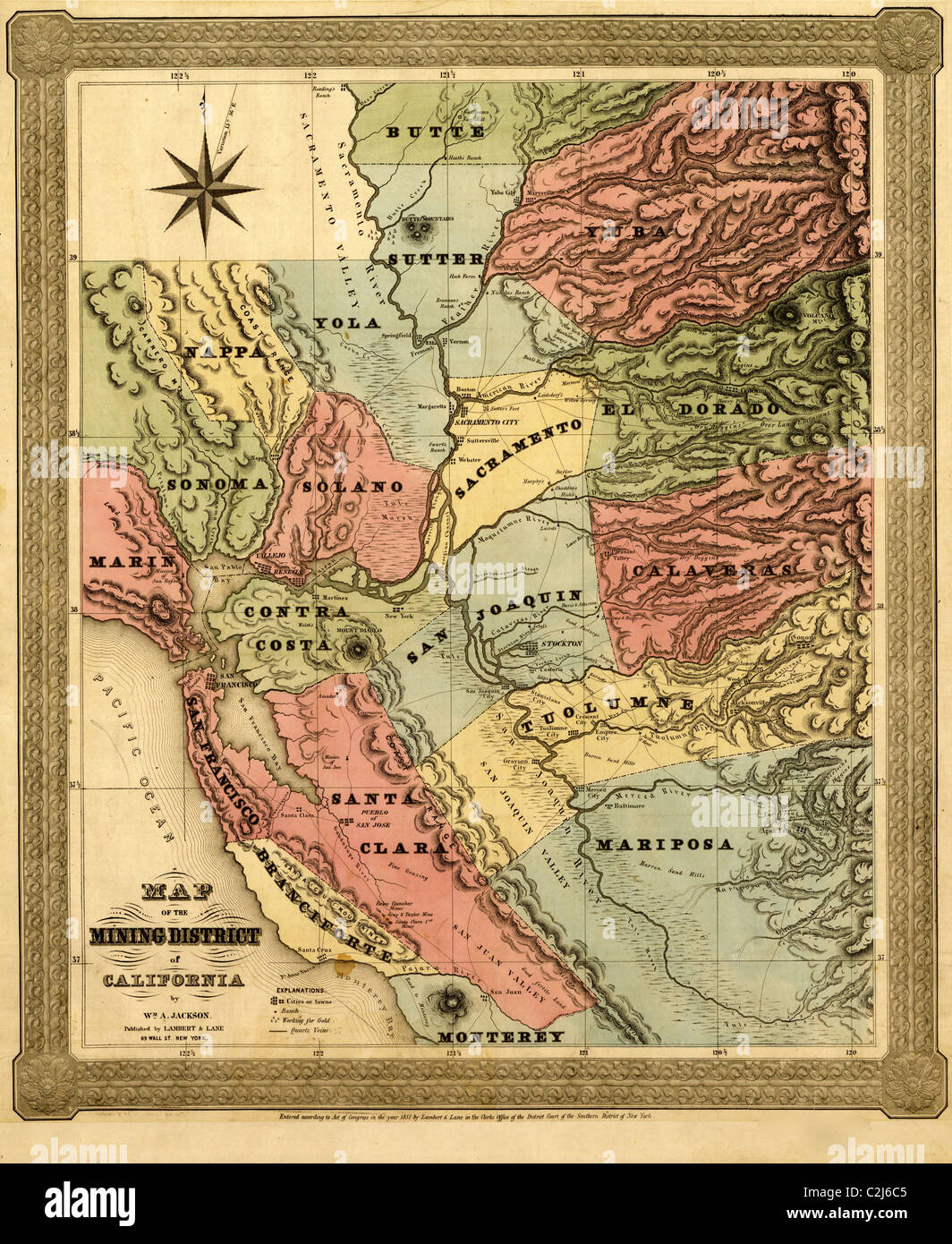California Mining District - 1851 - Stock Image