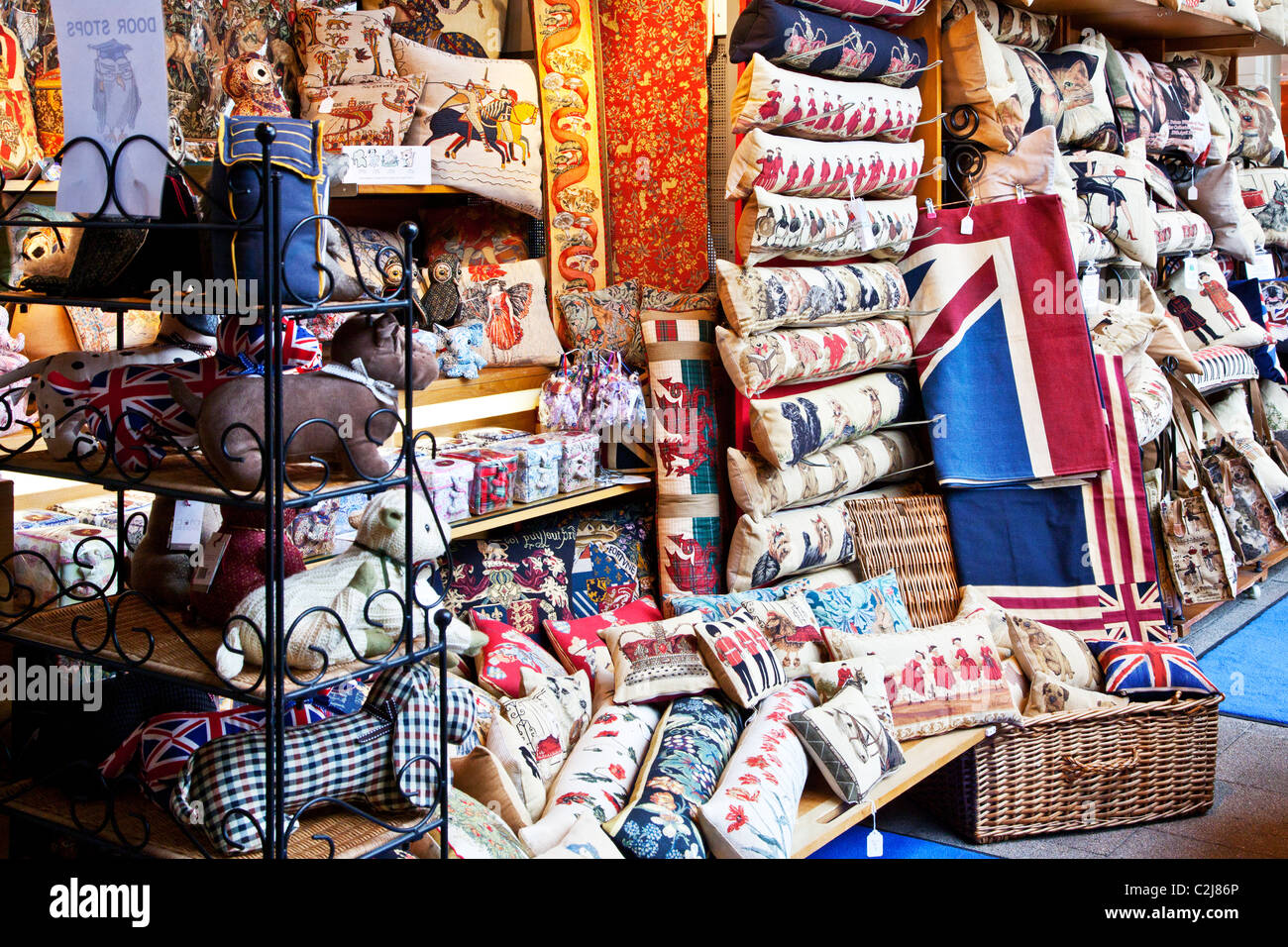 Display of upmarket souvenirs,memorabilia and gifts on an indoor market stall in Windsor, Berkshire, England, UK - Stock Image
