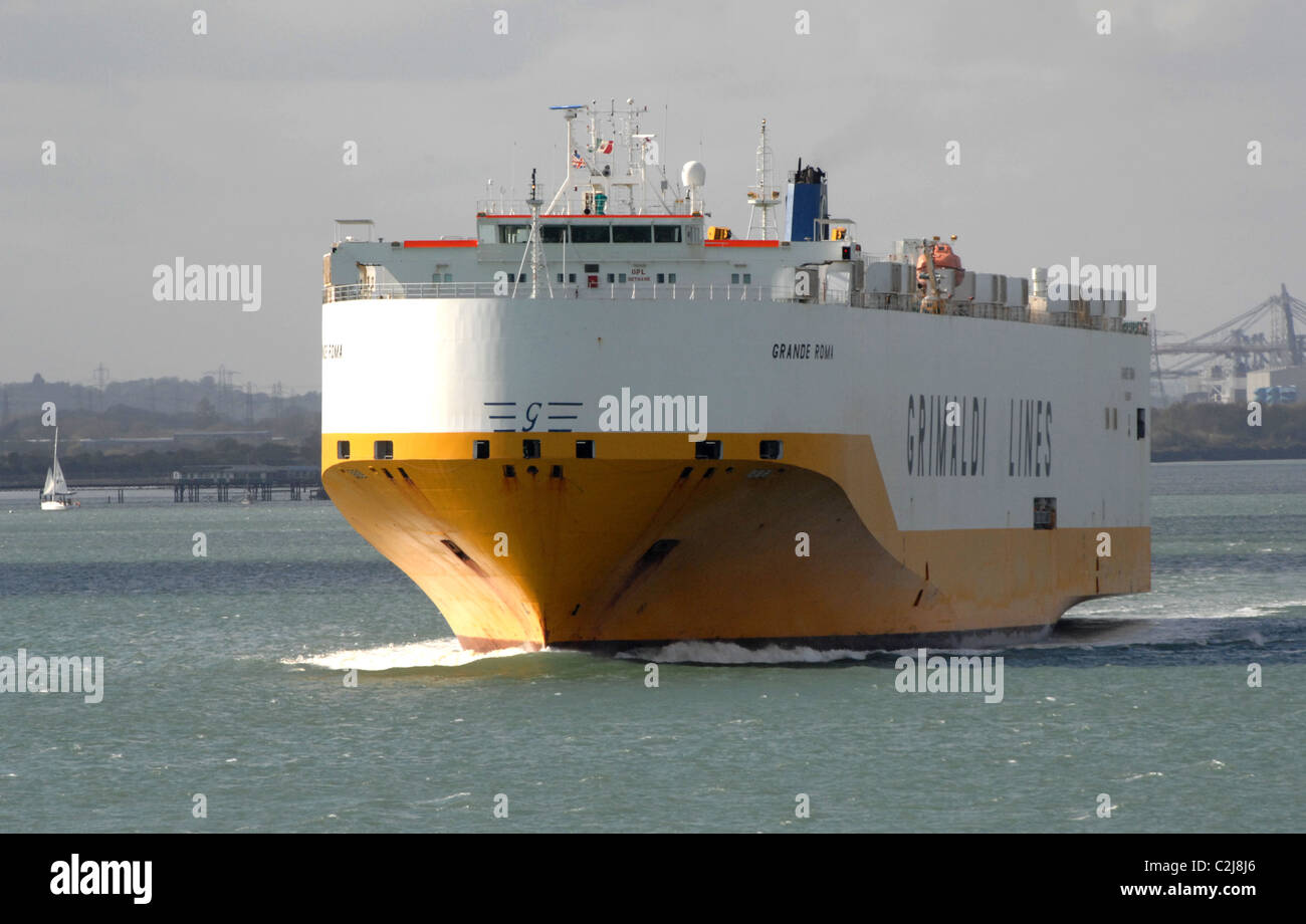 Italian cargo ship Grande Roma. Grimaldi lines. Photographed in Southampton Water, England. April 2011. - Stock Image