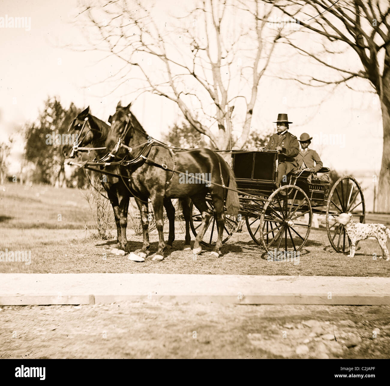 City Point, Virginia Gen. Rufus Ingalls in buggy with colored boy - Stock Image