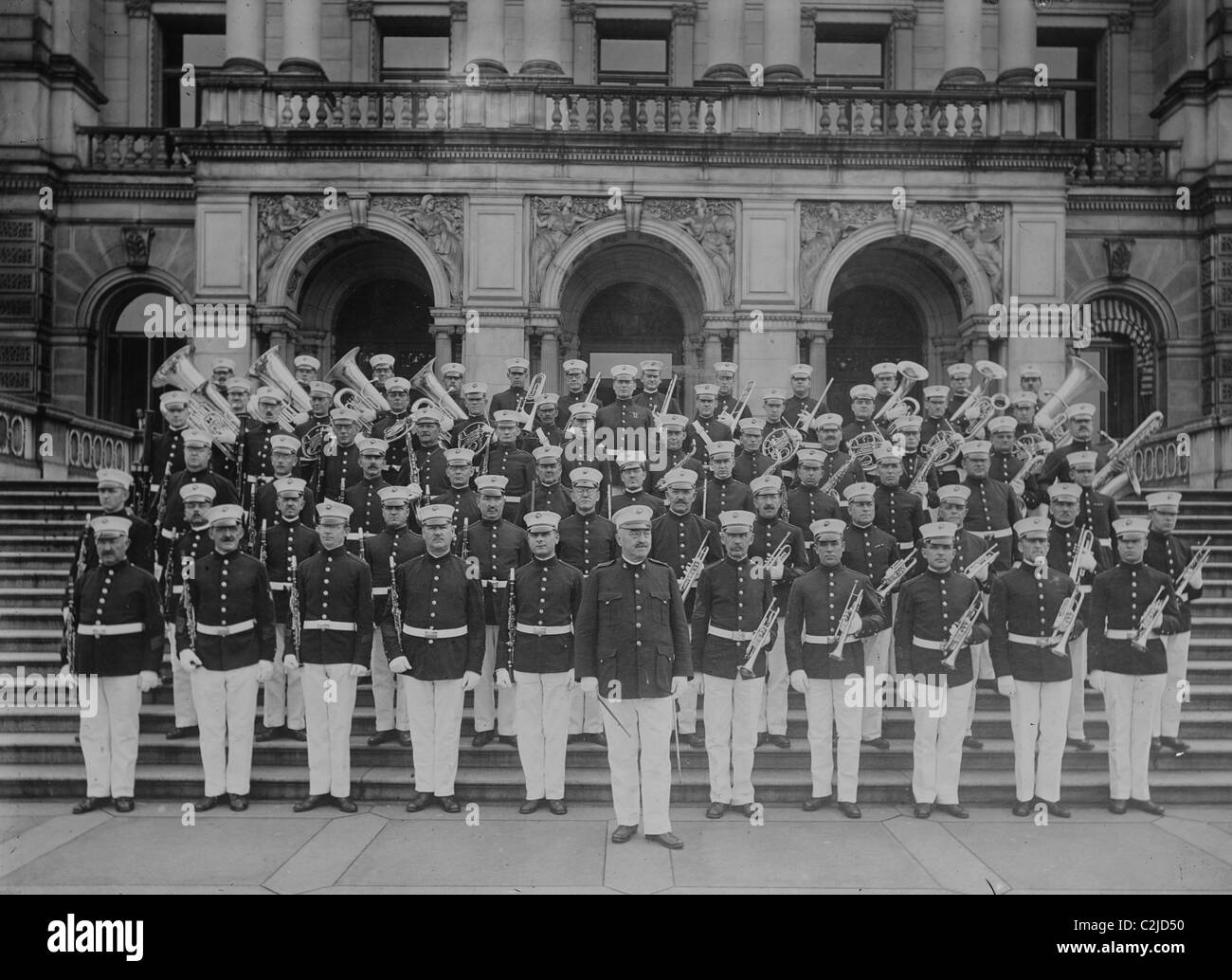 Marine Corps Band on Front of steps to the Executive Office Building - Stock Image