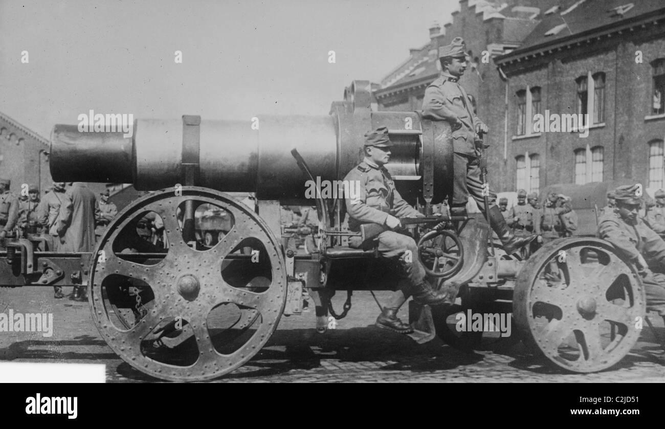 Austrian Siege Gun in Belgium - Stock Image