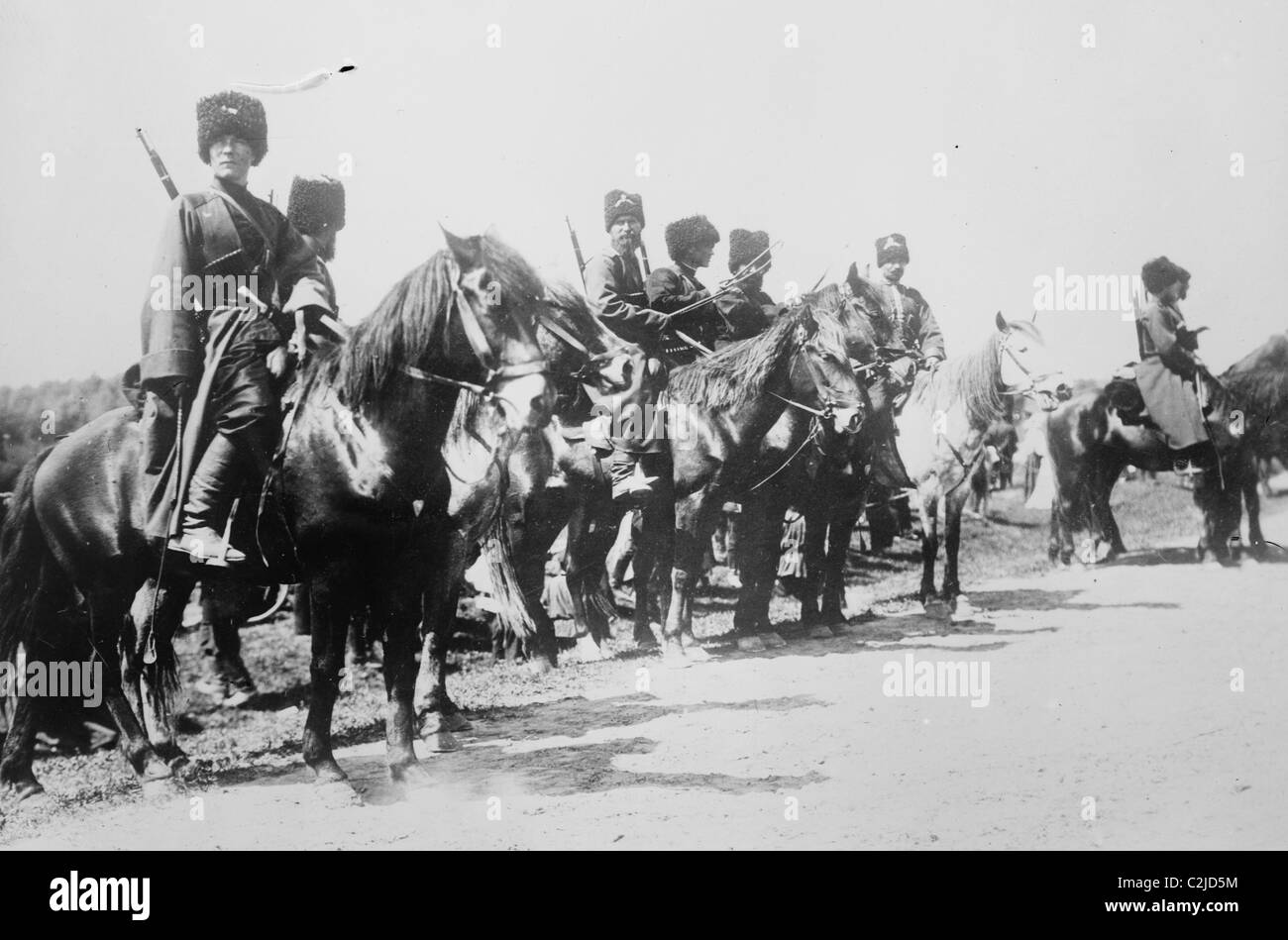 Mounted Russian Cossacks Scan the Battlefield - Stock Image