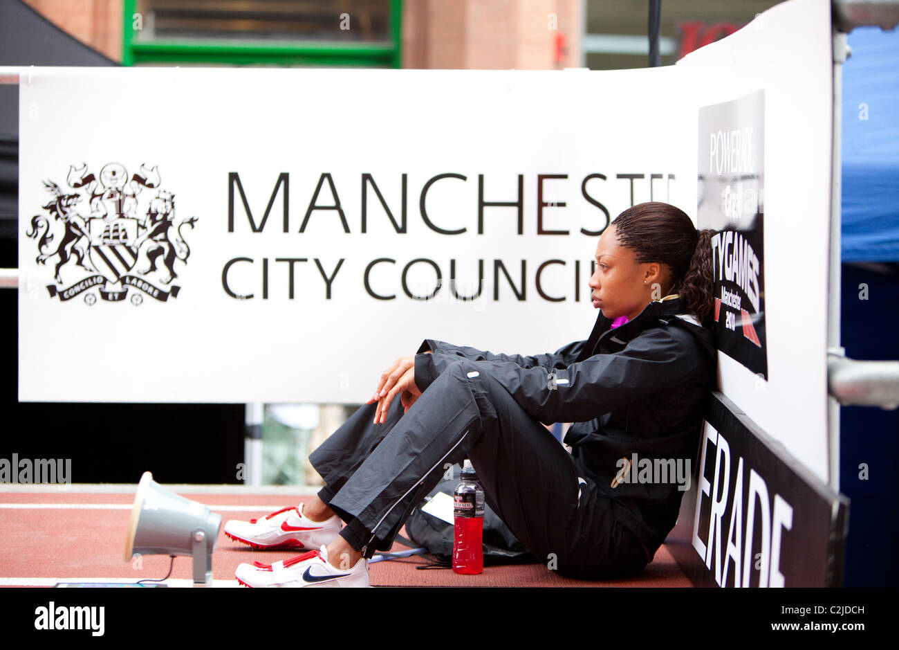 Allyson Felix sits focussed before her 200m race in the Great City Games Manchester 2010 with Manchester City Council - Stock Image