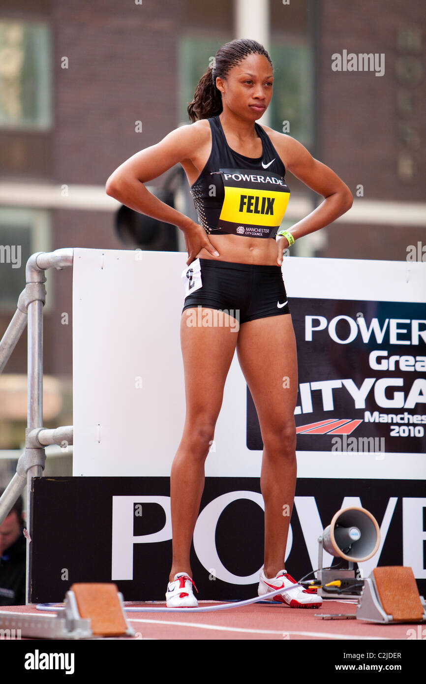 Allyson Felix looks focussed before the 200m race at Manchester Great City Games 2010 - Stock Image
