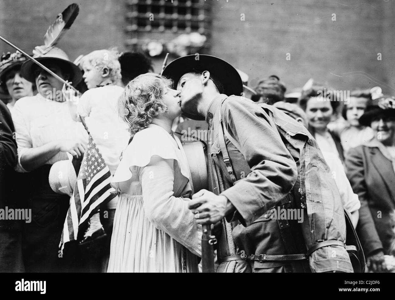 Parting Kiss from a Doughboy leaving for Europe with his 12th New York Regiment - Stock Image