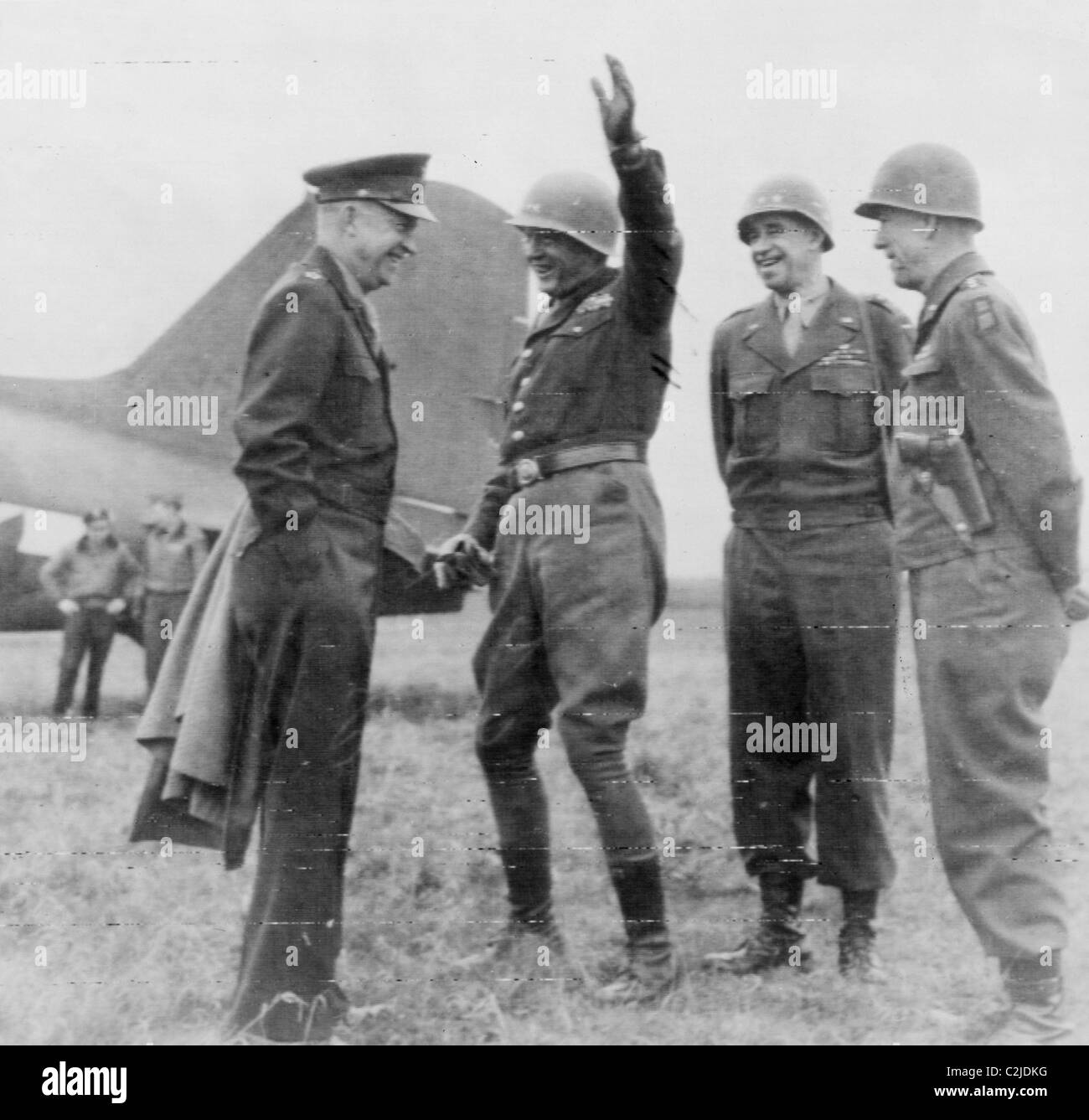 Eisenhower as Supreme Allied Commander meets with Patton, Clark & Bradley - Stock Image