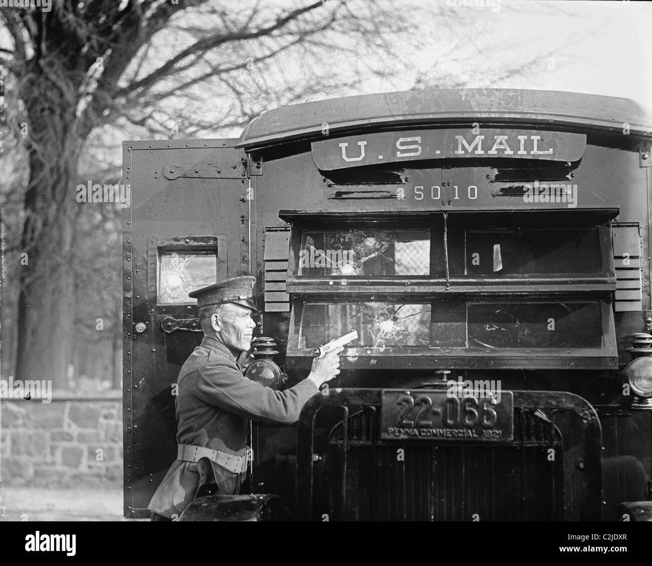 Uniformed Postal Official tests Regulation Army 44 Colt - Stock Image