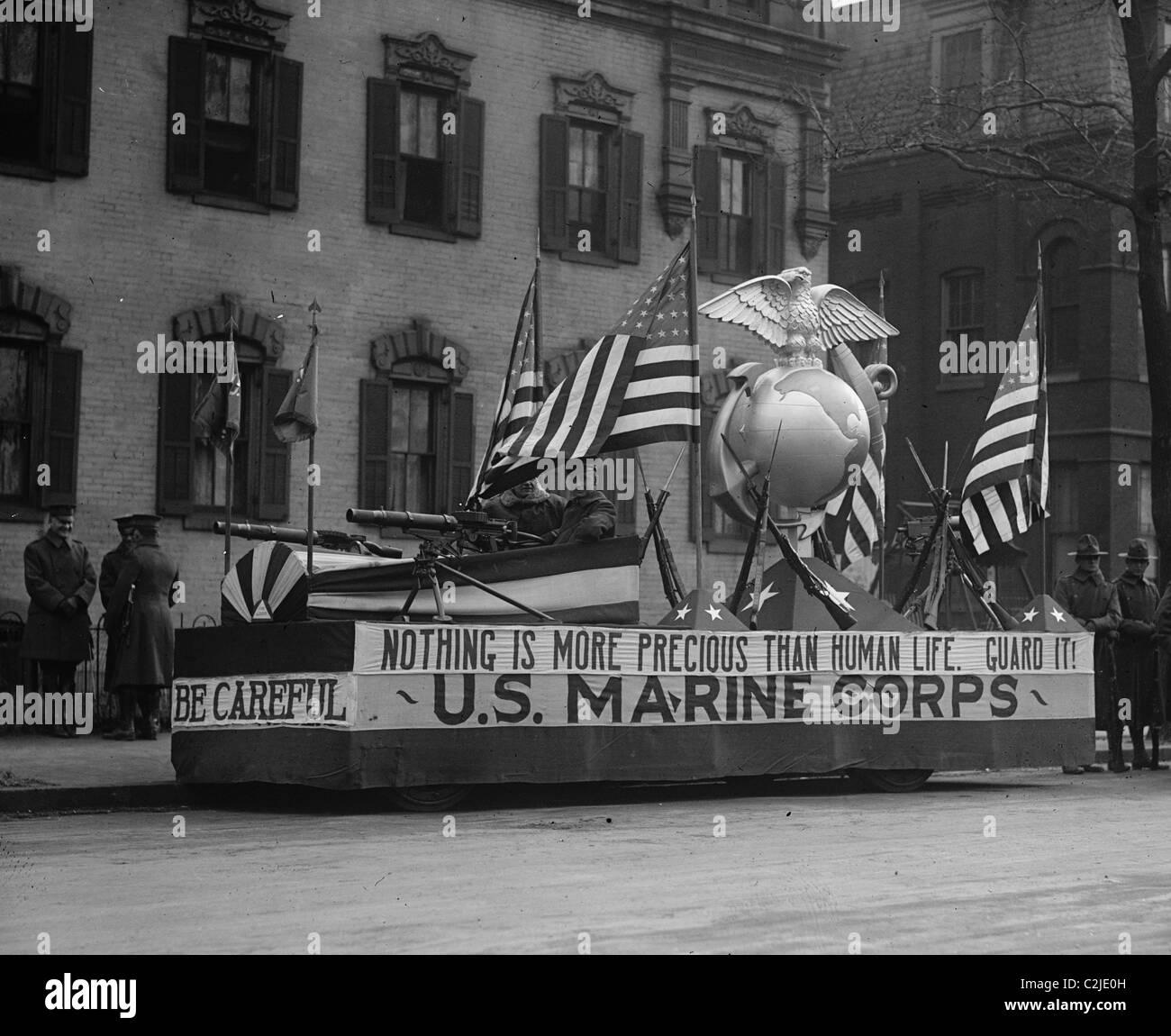 US Marine Corps Parade Float emphasizing recruitment - Stock Image