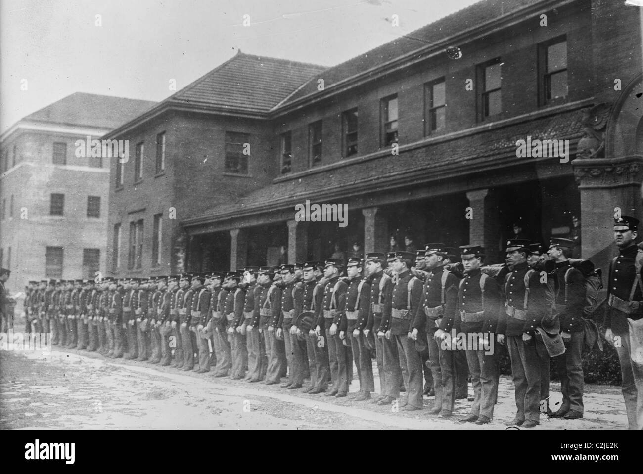 Marines in Formation at the League Island Naval Base in Philadelphia - Stock Image