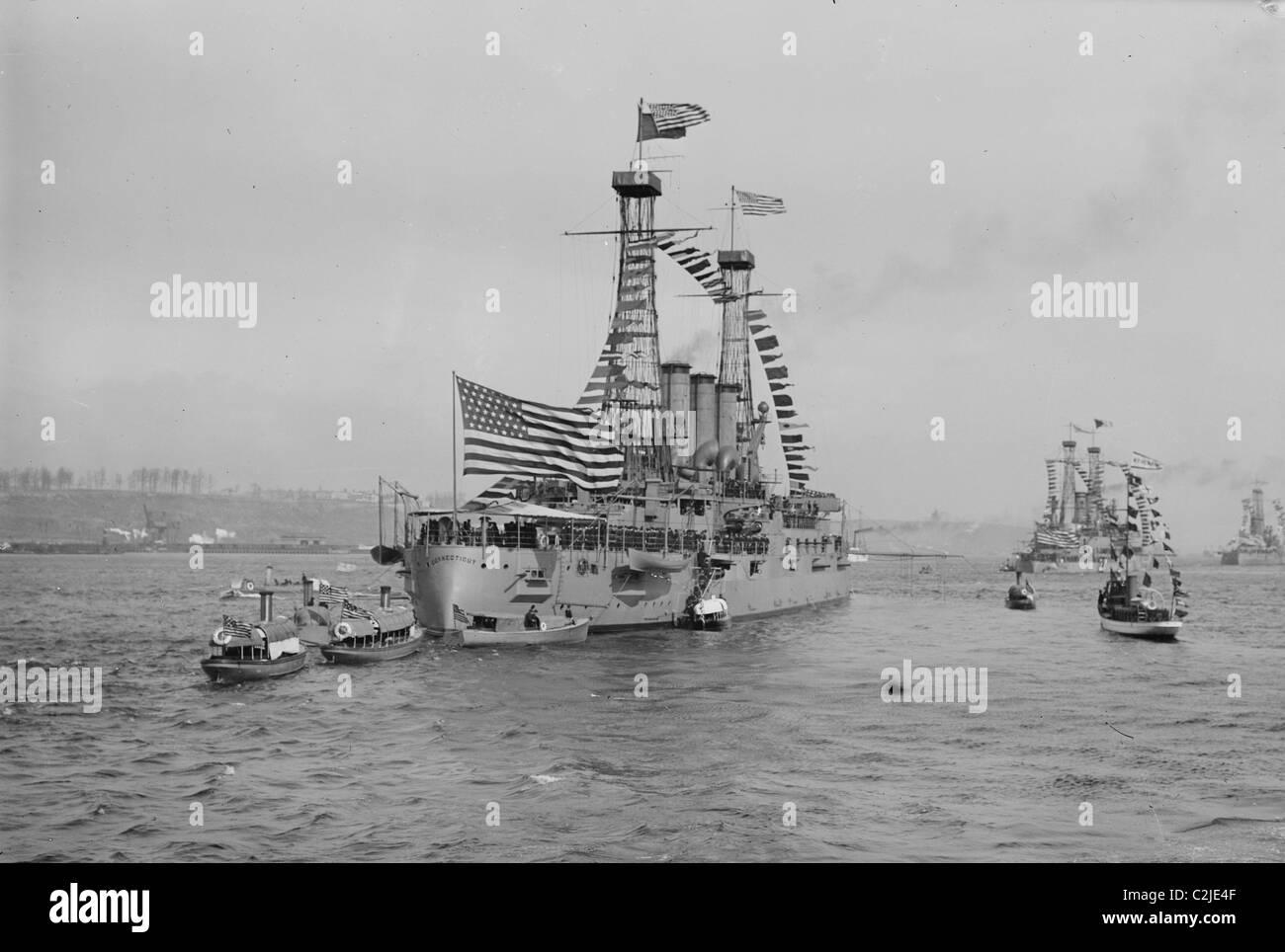Battleships Connecticut & Mayflower - Stock Image