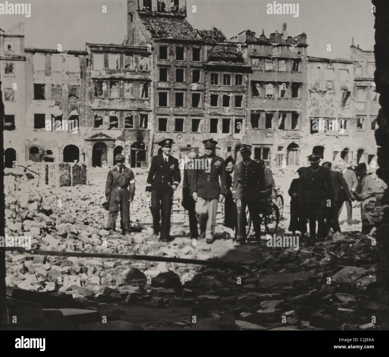 Eisenhower Tours Bombed Out Warsaw at the end of World War II - Stock Image
