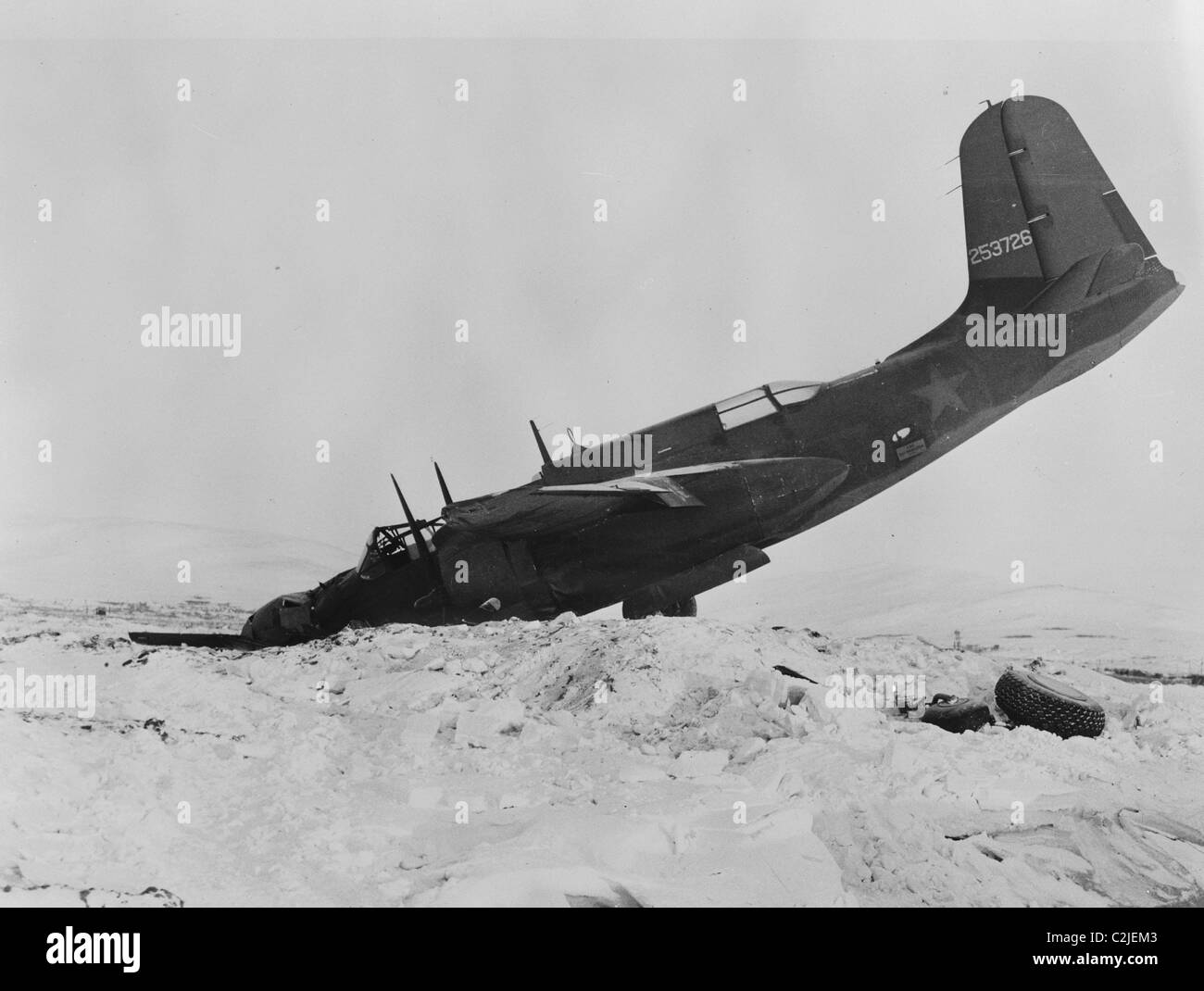 Air Transport to Support Russia in WWI Crashes on its way - Stock Image