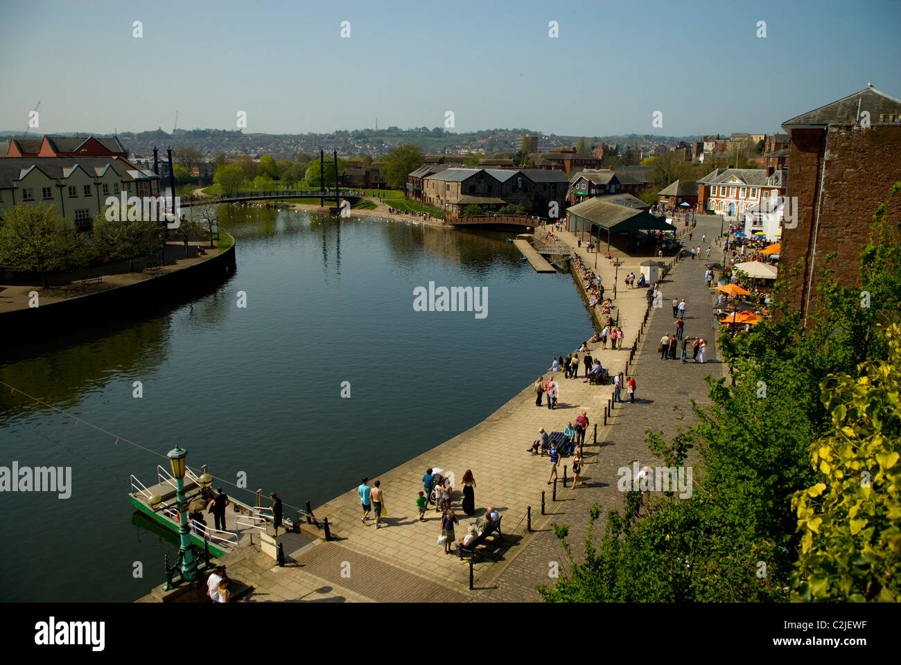 Looking down on the River Exe and Exeter Quayside, Devon England UK 2011 - Stock Image