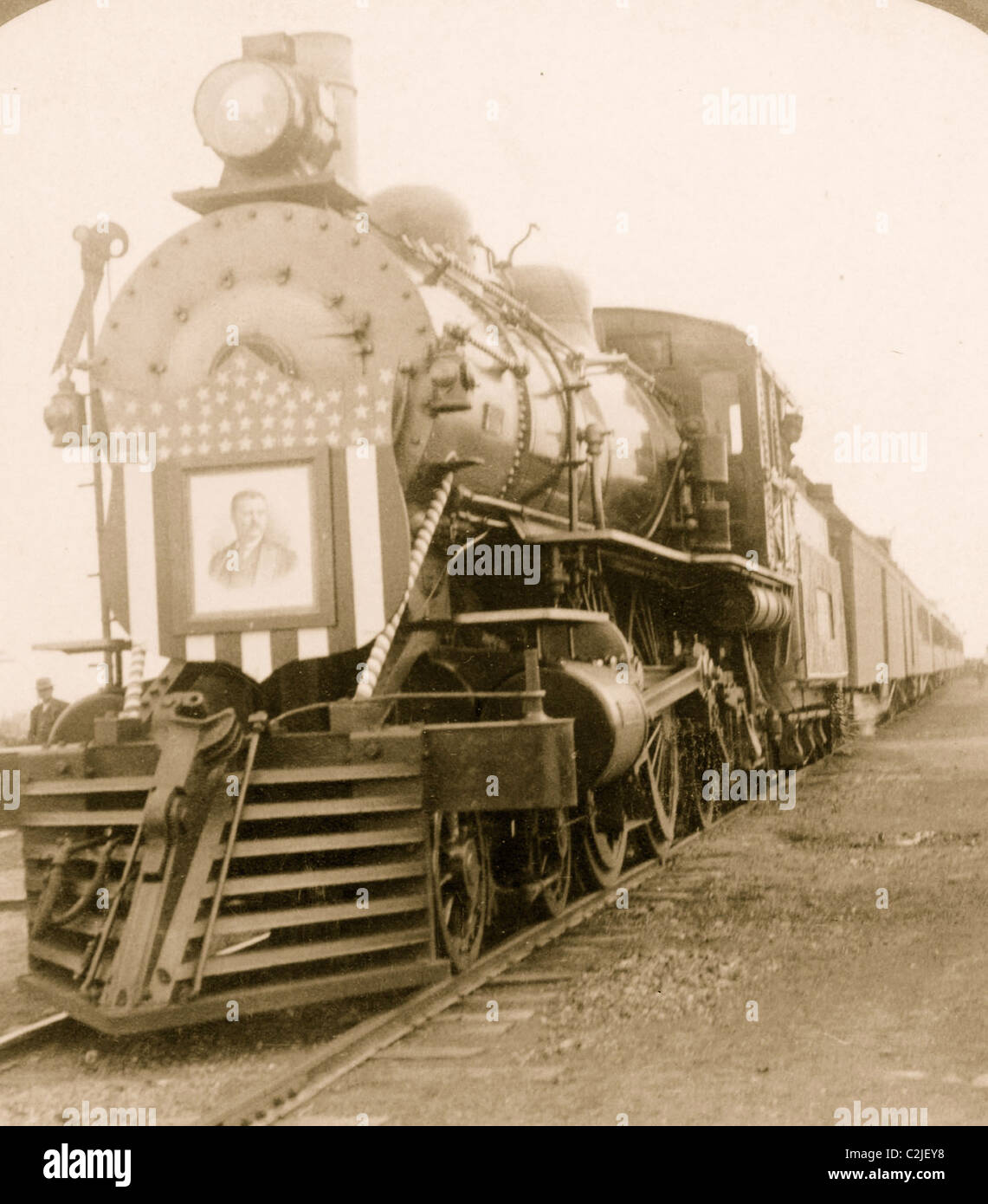 Teddy Roosevelt Campaign Train Locomotive with his Image as an escutcheon on face of the Engine - Stock Image