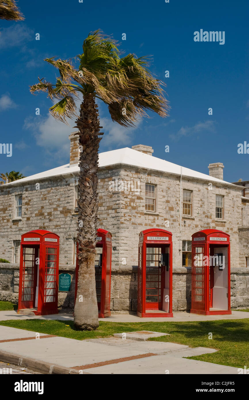 Red British-style telephone boxes and palm tree at the Royal Naval