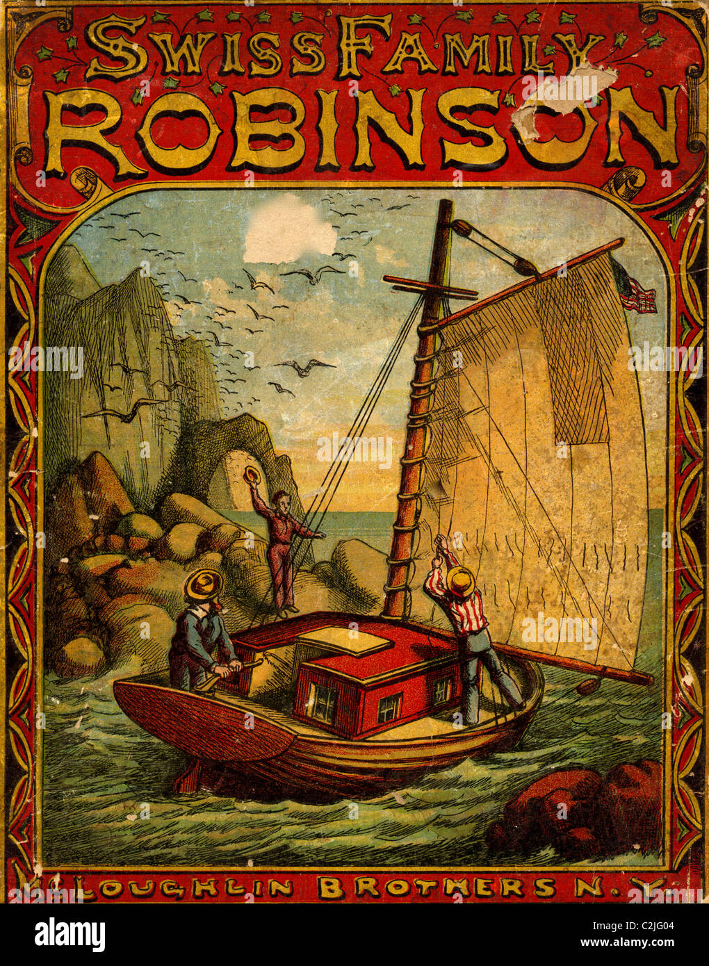 Swiss Family Robinson Book Cover - Stock Image