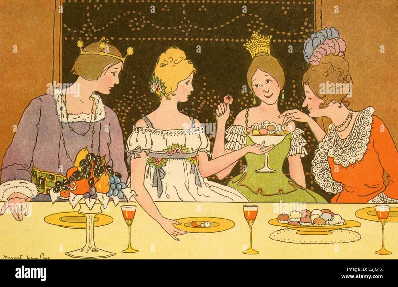 Prince & Young Ladies dine on Confectionaries - Stock Image