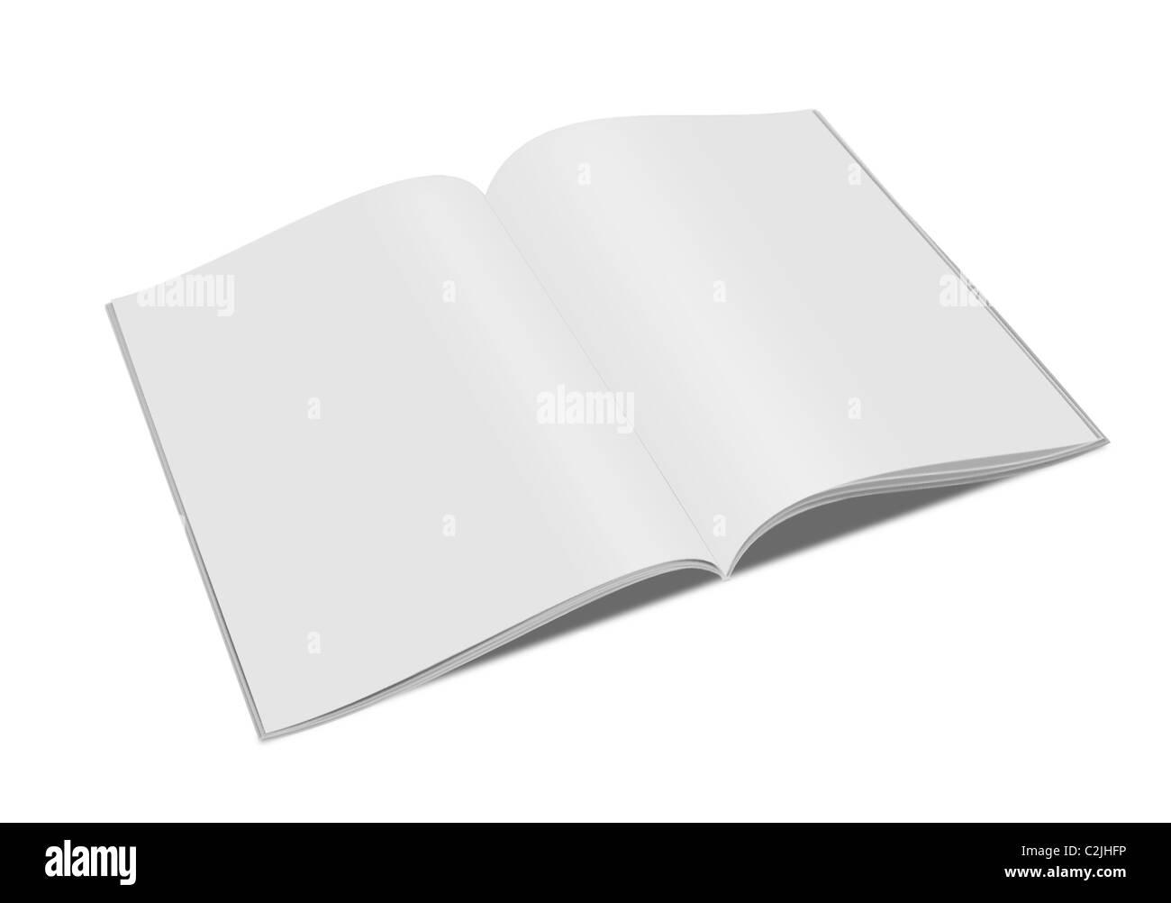 3d blank white magazine isolated on white - Stock Image