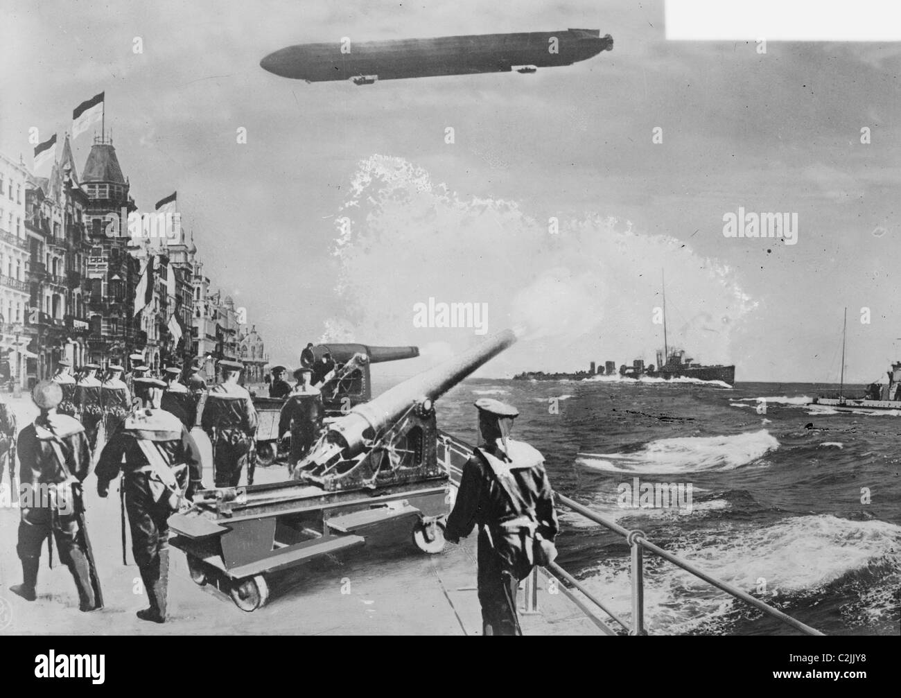 English Fleet at Ostend with Balloon Overhead - Stock Image