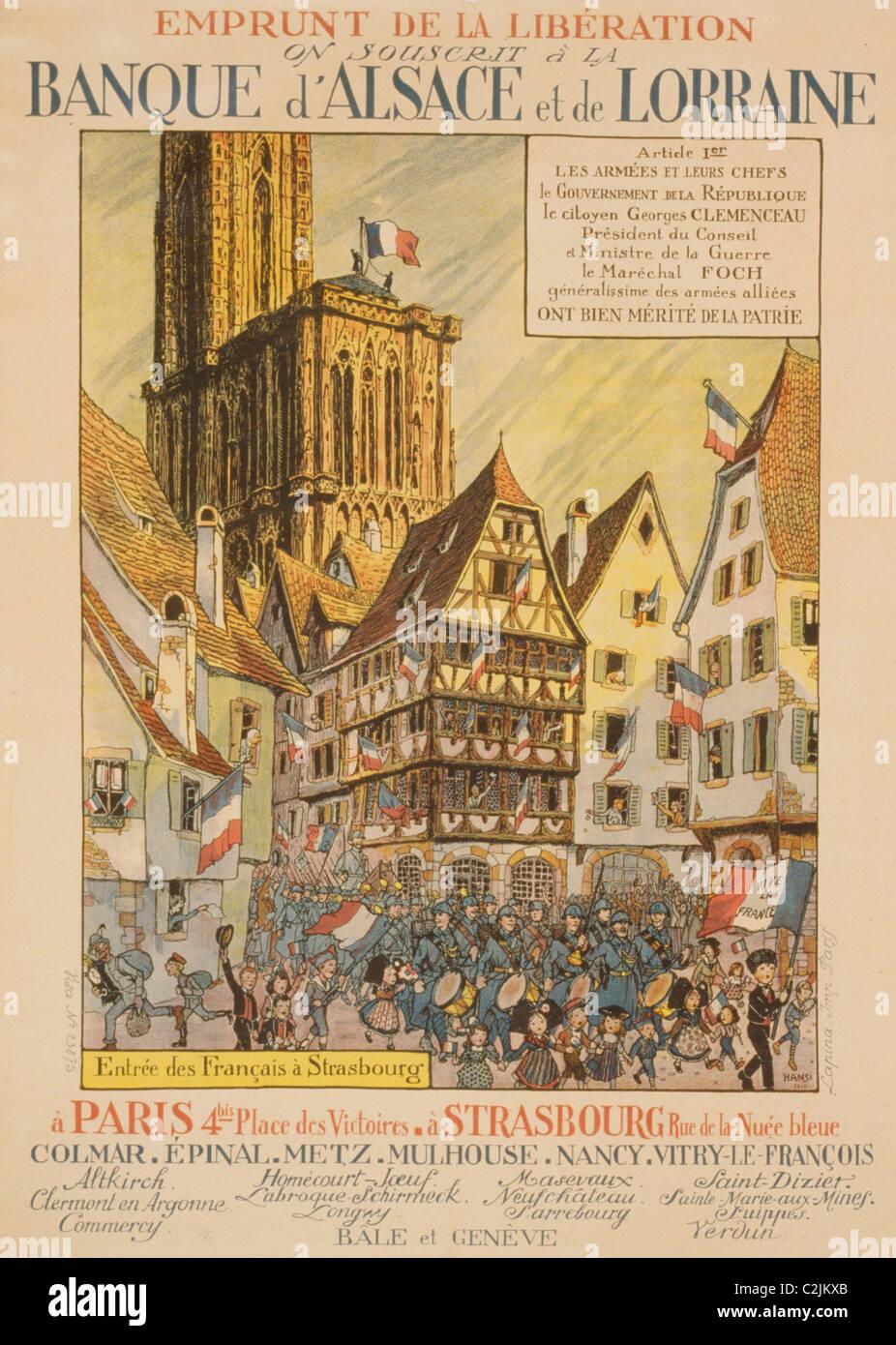 Emprunt de la Libération. On souscrit á la Banque d'Alsace et de Lorraine