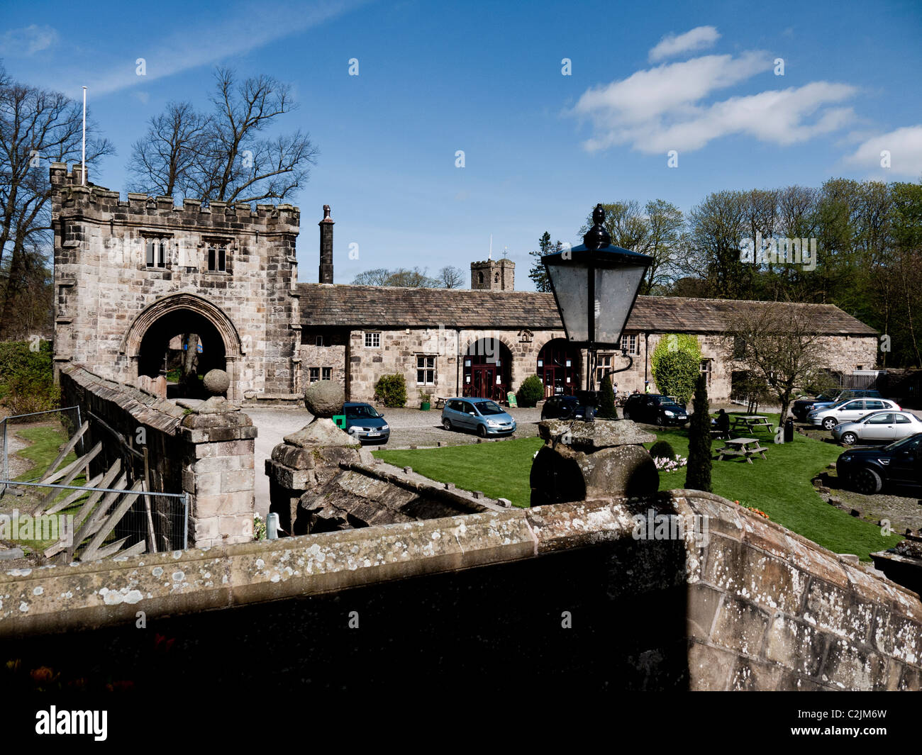 The Gatehouse at Whalley Abbey, Whalley, Clitheroe, Lancashire, England, UK. - Stock Image
