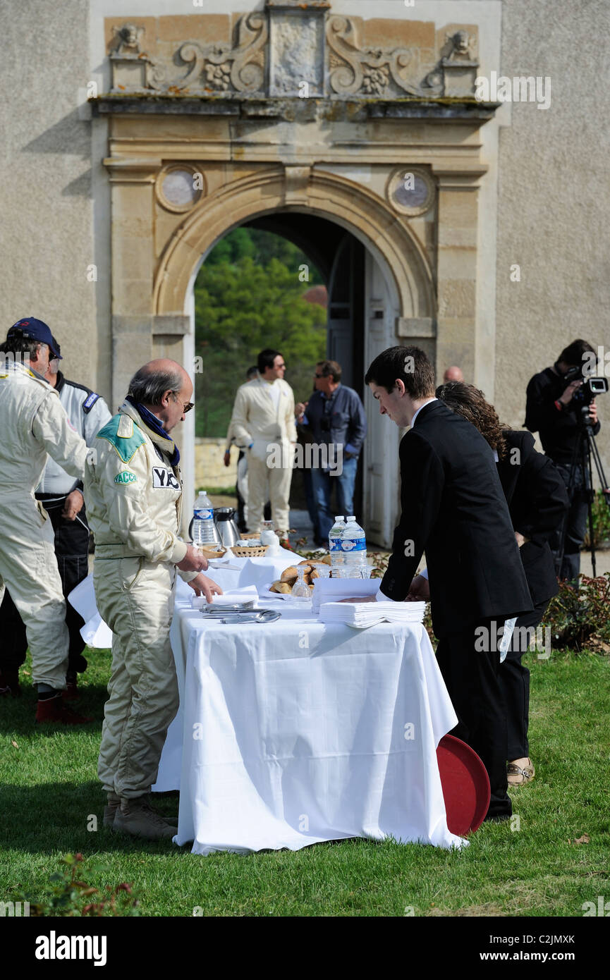 Stock photo of the Chateau Fraisse in France hosting a stopover for the tour auto optic 2000 in 2011. - Stock Image