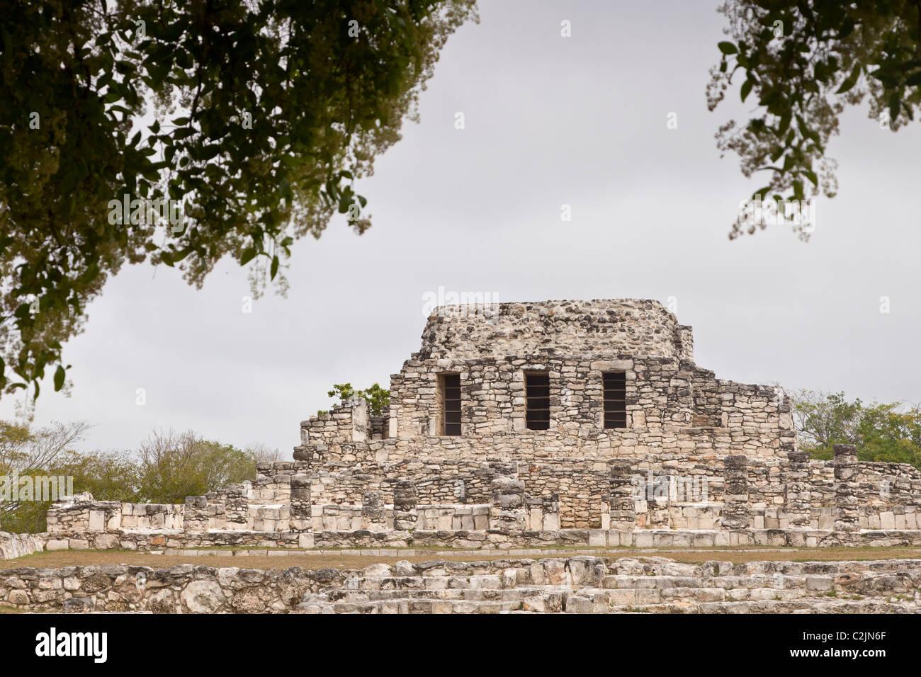 Temple of the Painted Niches (Templo de los Nichos Pintado) at the Maya ruins of Mayapan in the Yucatan Peninsula, - Stock Image