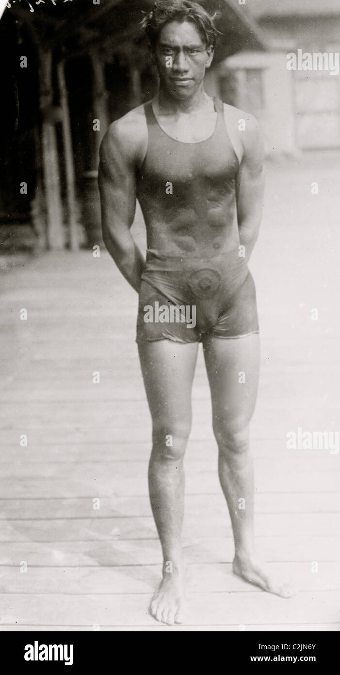 Duke P. Kahanamoku in bathing suit - Stock Image