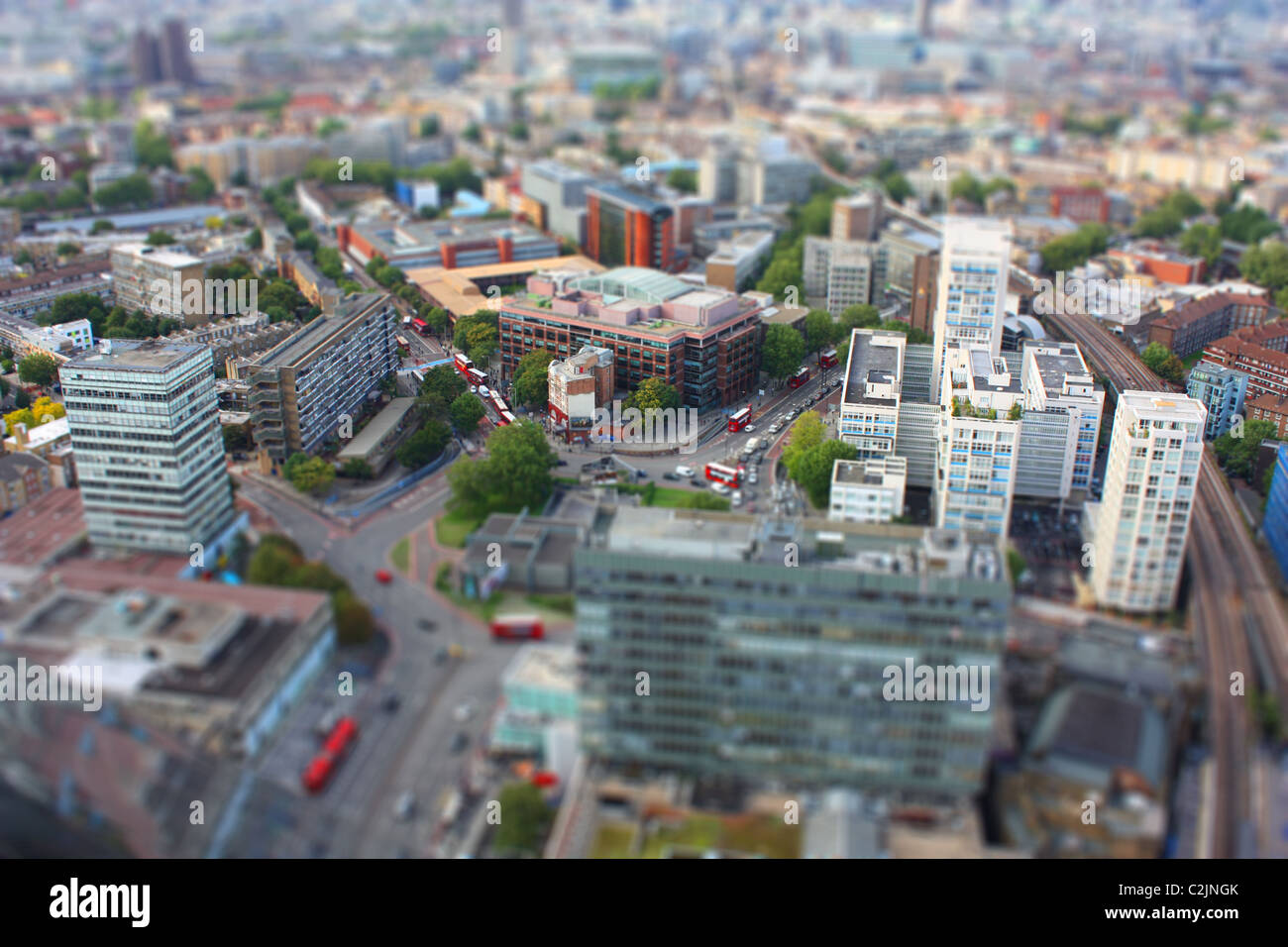 fake tilt-shift image of the Elephant and Castle in London from the top of Strata SE1 - Stock Image
