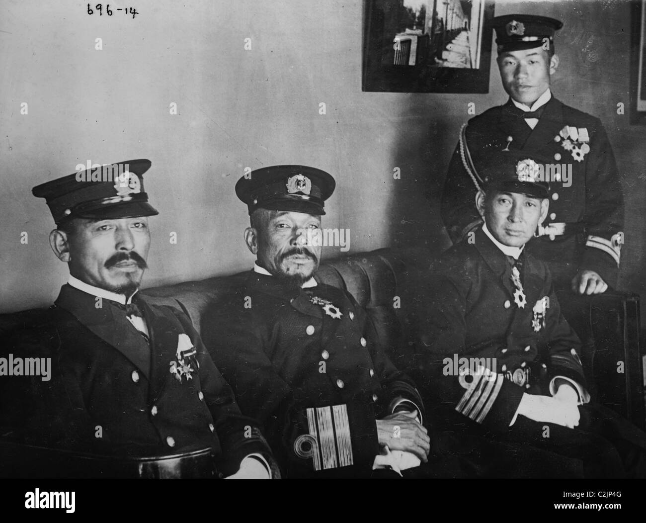 Japanese Naval officers: Capt. G. Ishii, Adm. Ijichi, Flag Lieut. Shimomure, and Capt. T. Sato - Stock Image