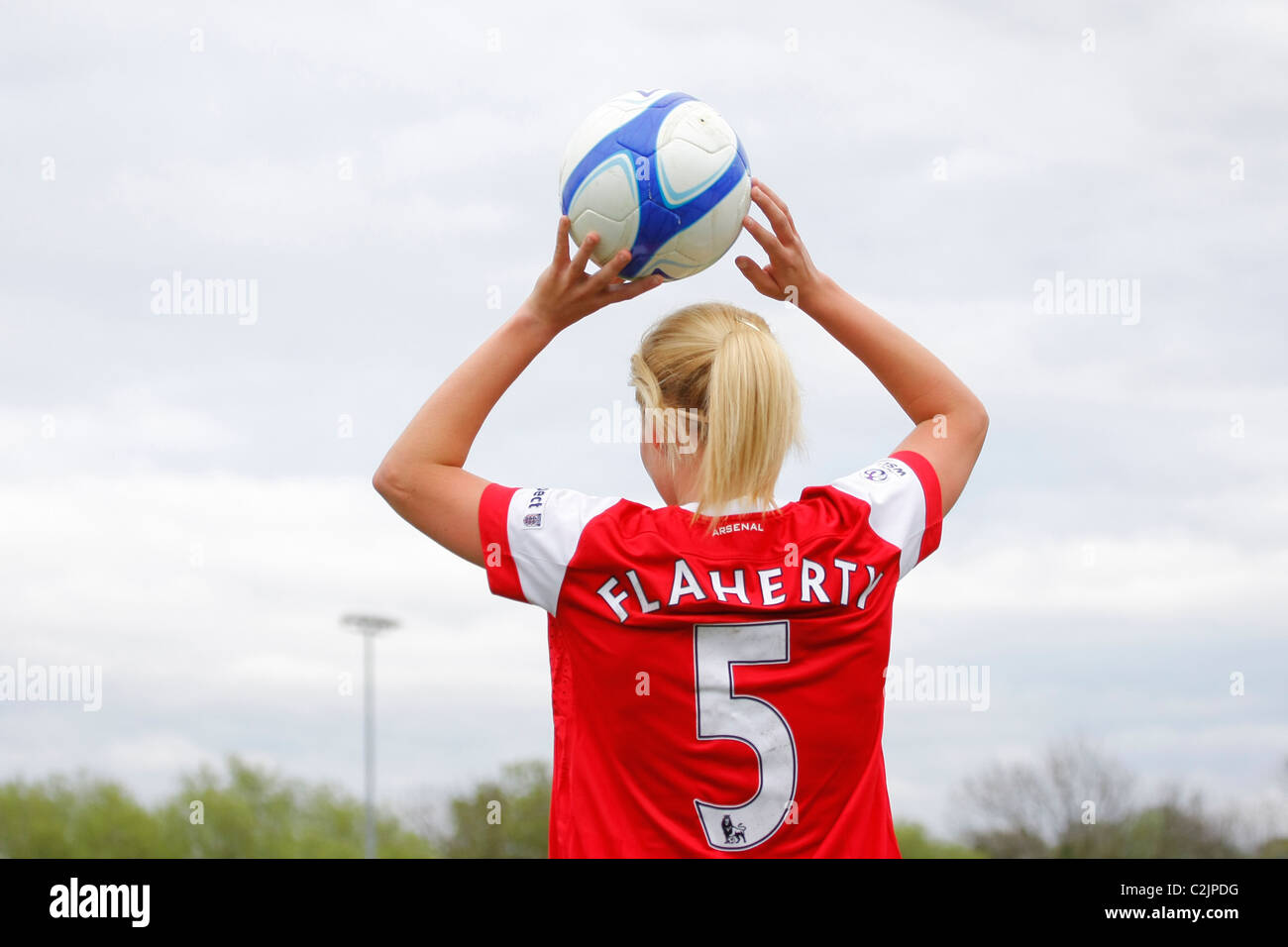 Scenes from the first match in WOMENS SUPER LEAGUE professional football series between CHELSEA & ARSENAL ladies - Stock Image