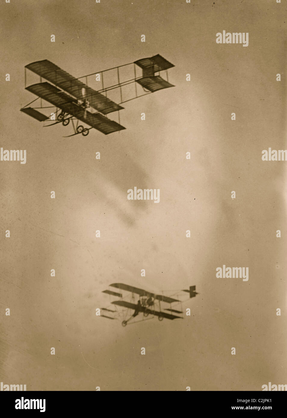 Paulhan and Hamilton aeroplanes in flight, Los Angeles - Stock Image