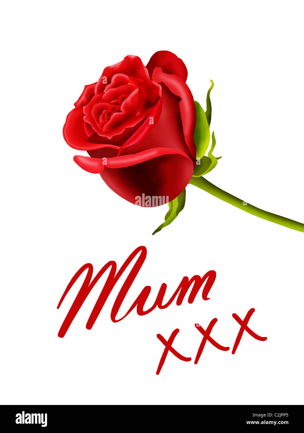 birthday or mother s day card to mum with a rose and kisses stock