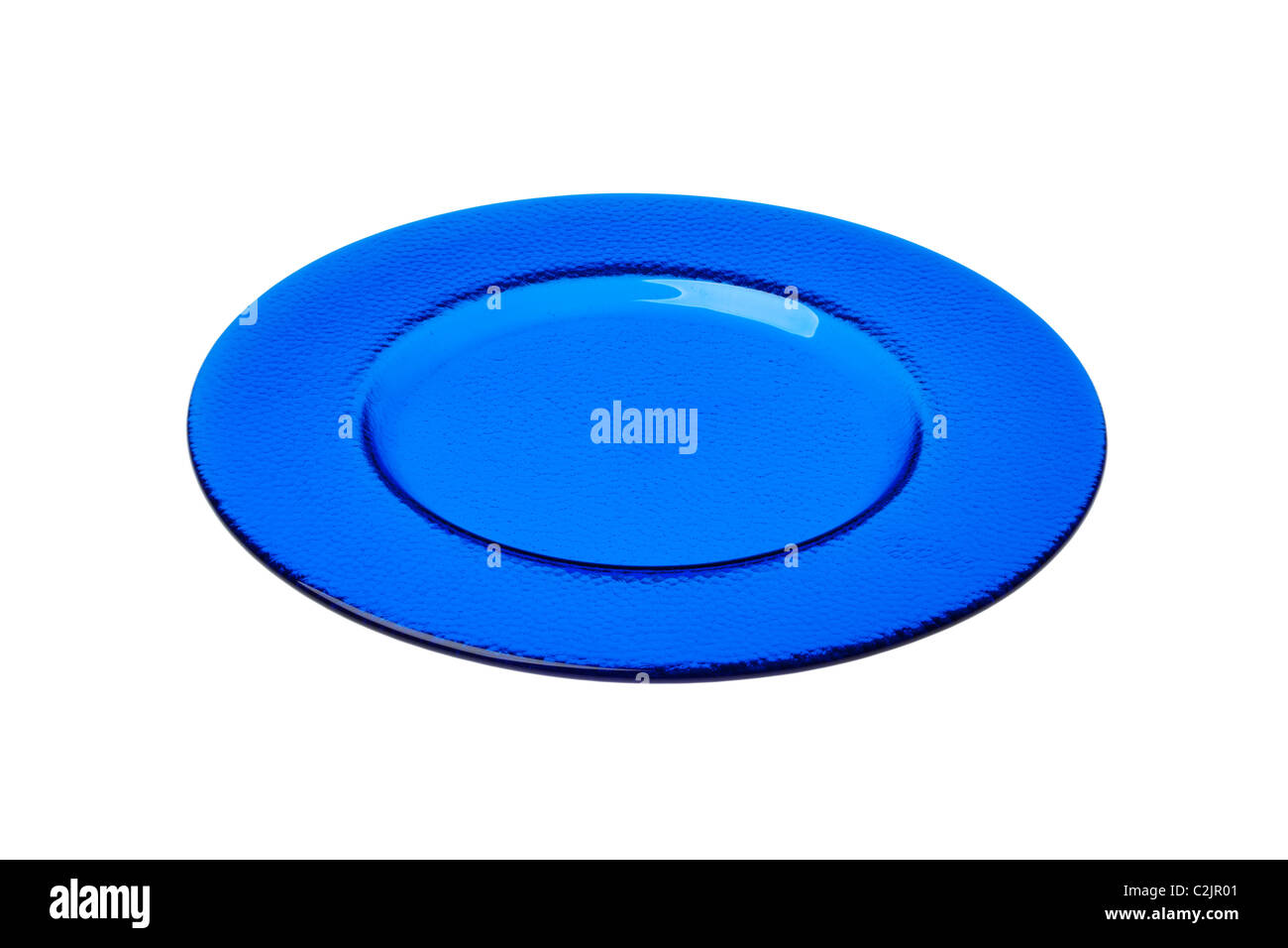 Blue glass dinner plate cut out against a white background Stock ...