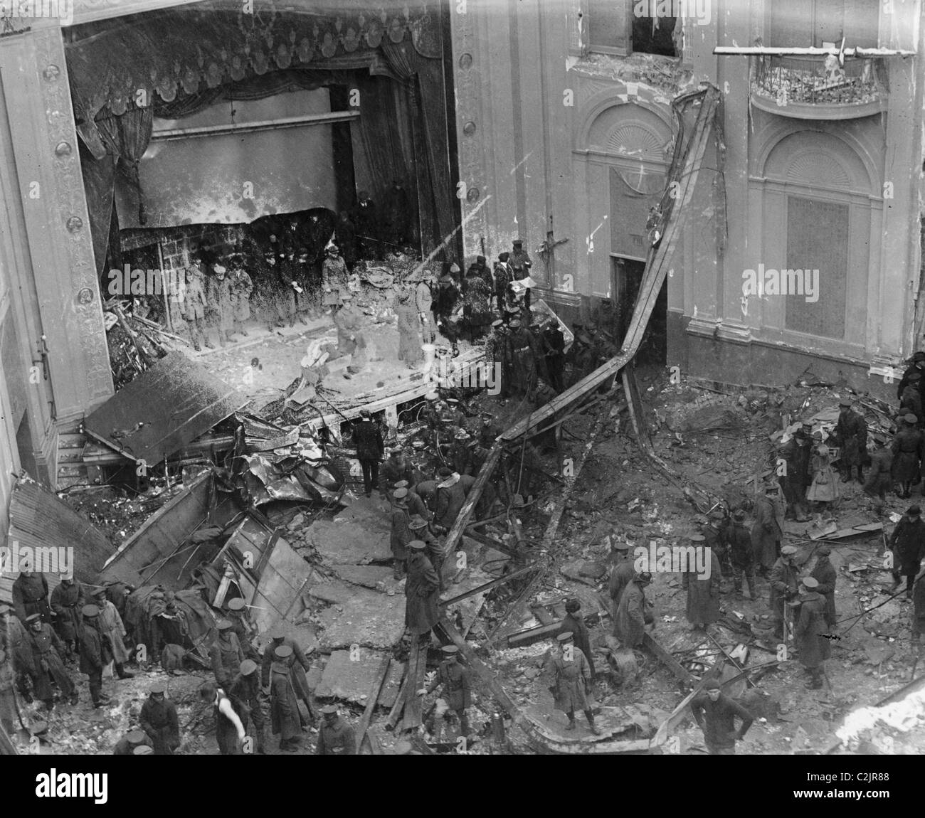 Knickerbocker Theatre in Washington DC collapse from the weight of snow - Stock Image