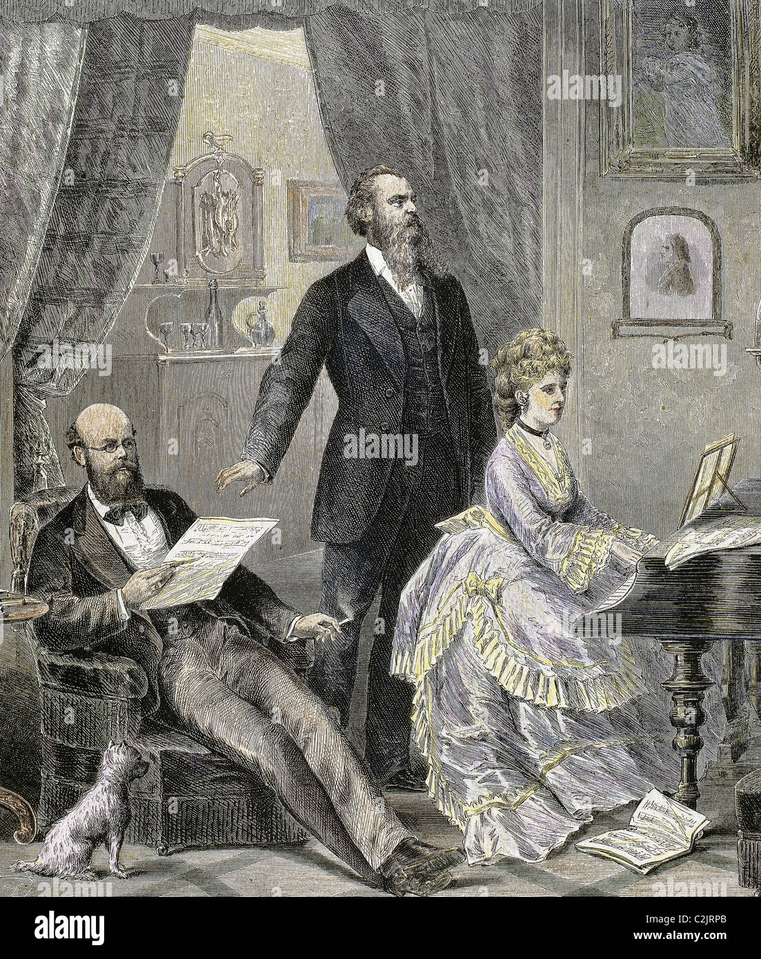 Bourgeoisie. Listening to piano. Nineteenth-century colored engraving. - Stock Image