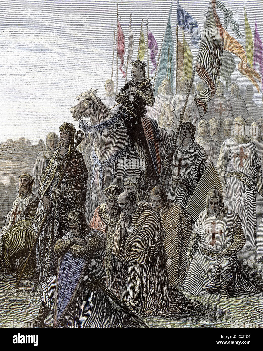 Richard I of England , known as Richard the Lionheart (1157-1199). Crusader forces praying before going into battle. - Stock Image