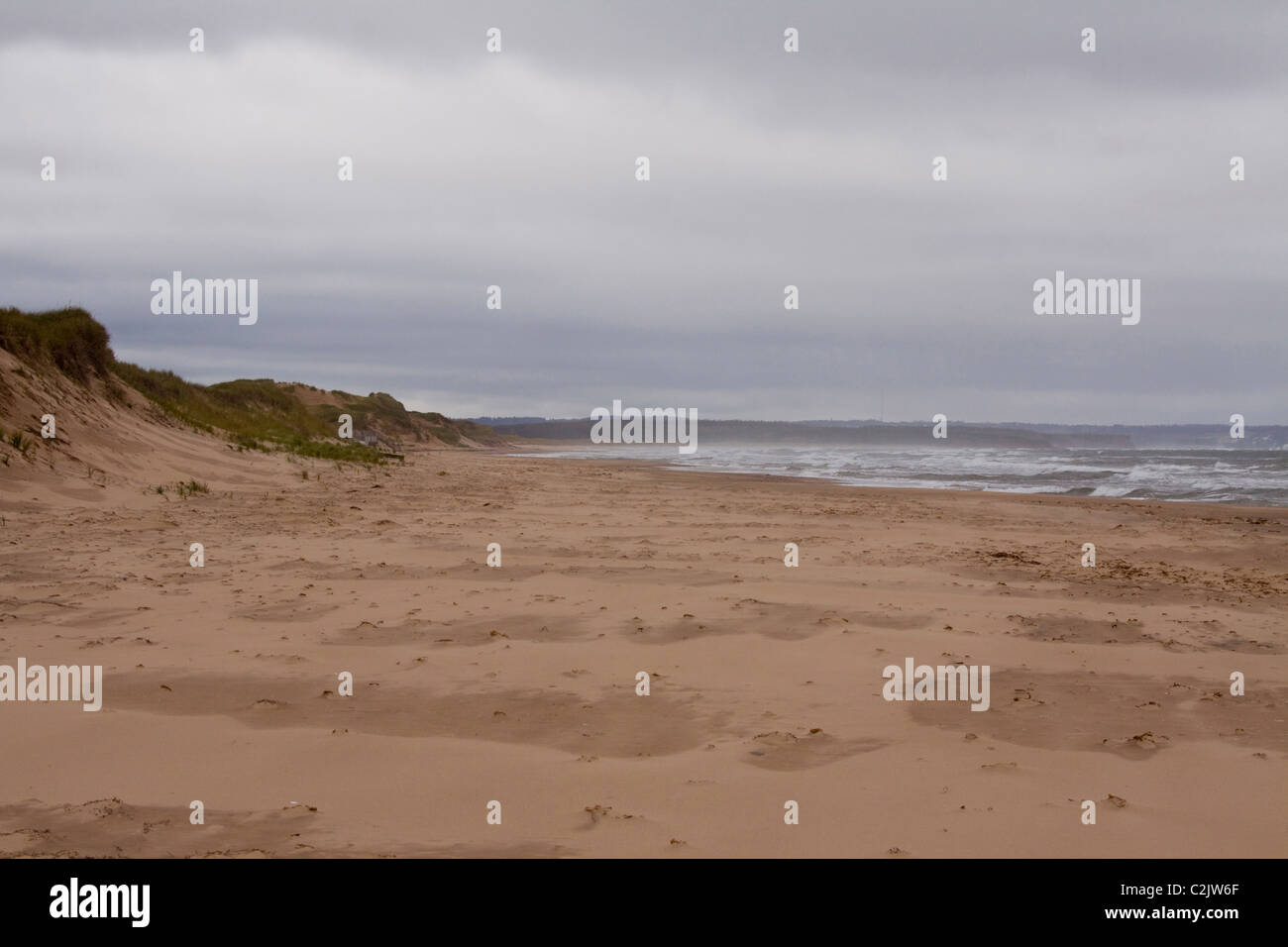 Deserted beach on a storm day in Autumn, Prince Edward Island National Park, on the north shore of Prince Edward - Stock Image