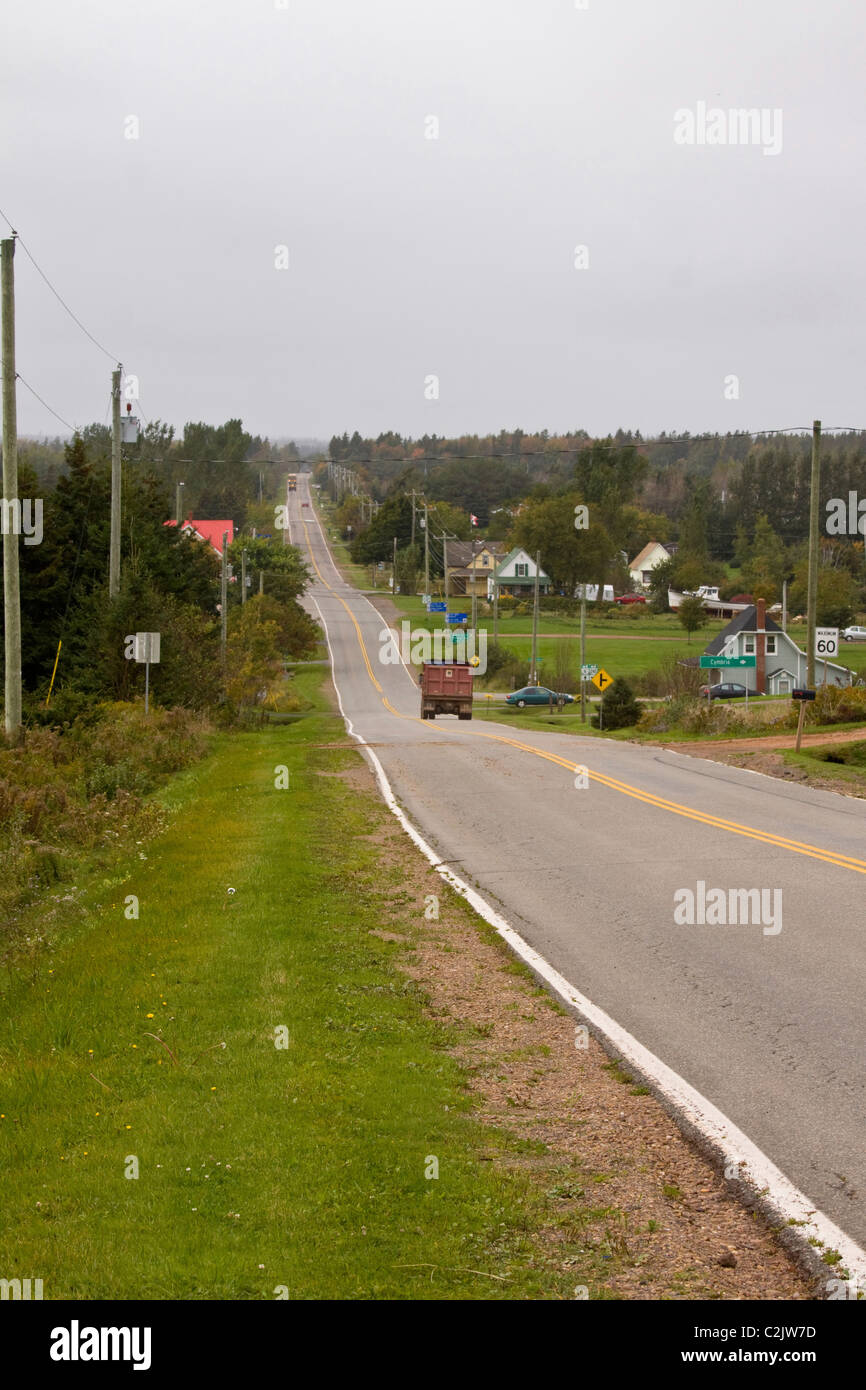 PEI country road with potato truck, Queens County, Prince Edward Island, Canada - Stock Image