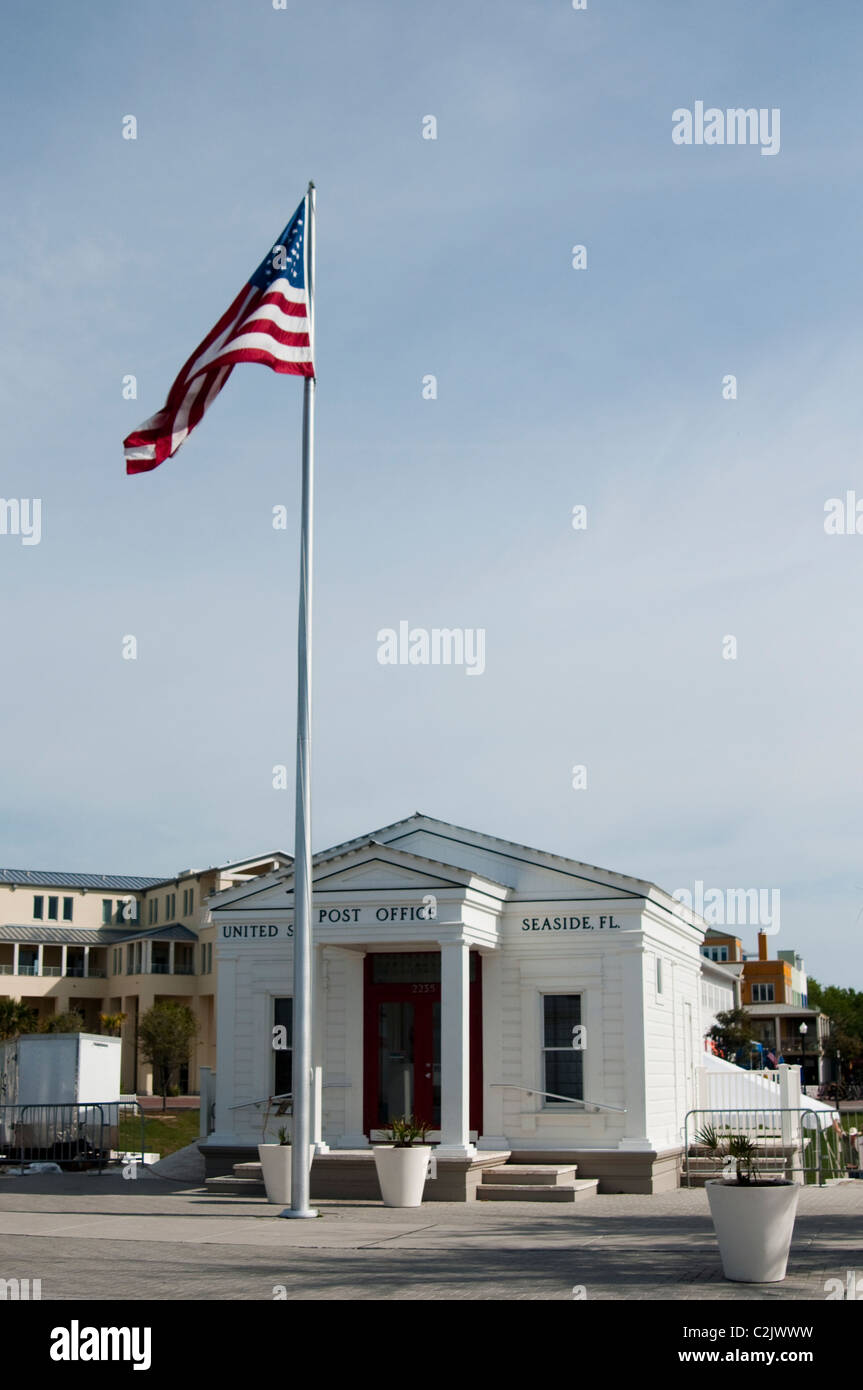 The post office and flagpole at the heart of Seaside, Florida. Stock Photo