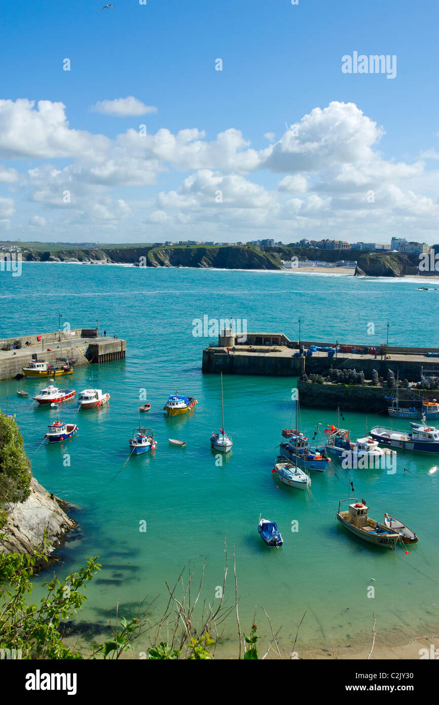 Newquay harbour in Cornwall UK at high tide. - Stock Image