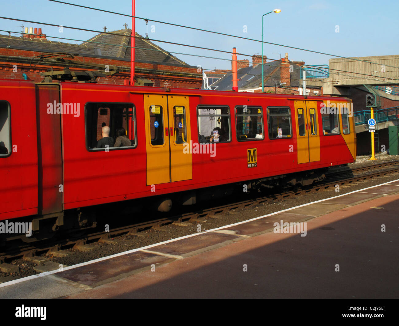 Tyne and Wear metro at West Jesmond station, Newcastle, England - Stock Image