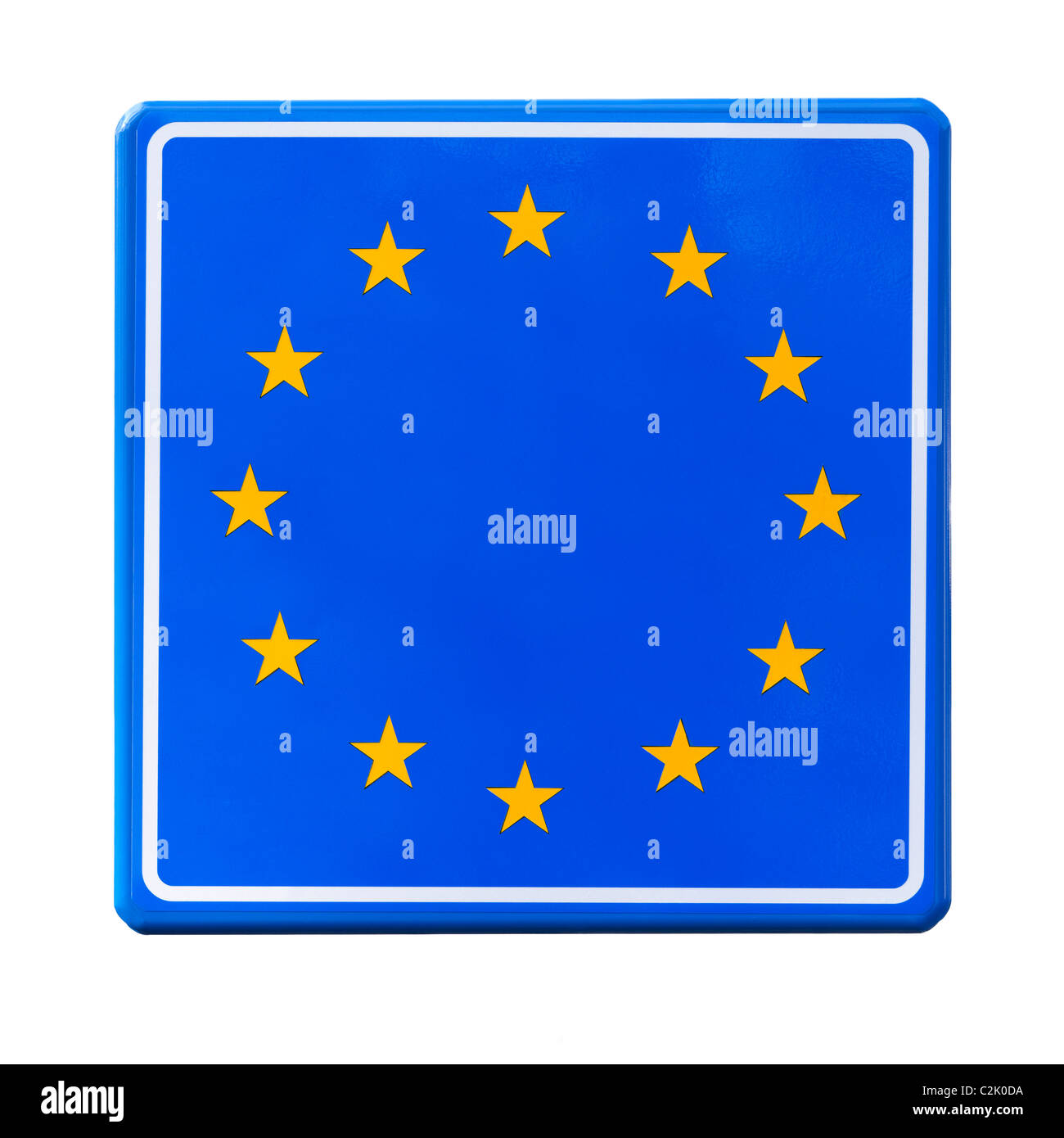 Empty EU European Union border road sign, roadsign cut out cutout. Europe sign, Europa symbol without a country - Stock Image
