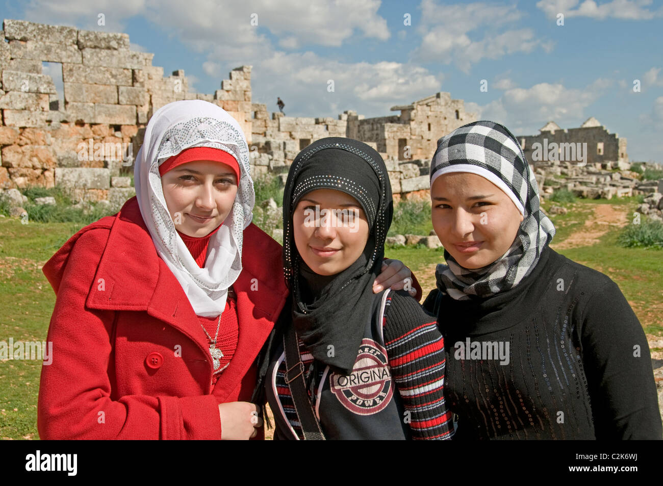 Syria Syrian Middle East young  Muslim woman girl teenager teen women girl teens teenagers - Stock Image